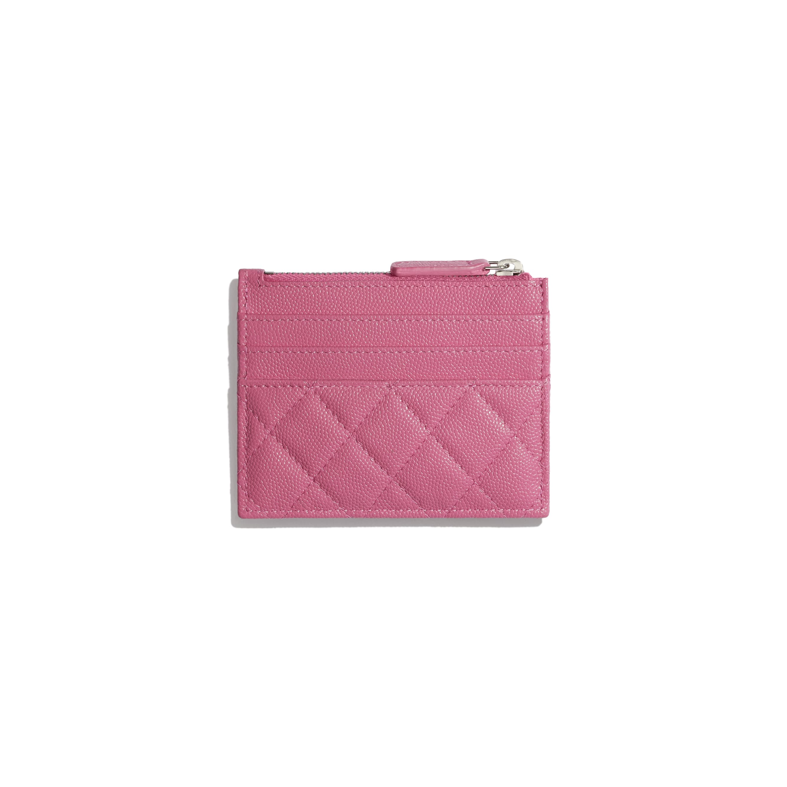 Zipped Card Holder - Pink, Blue & White - Grained Calfskin, Fabric & Silver-Tone Metal - CHANEL - Alternative view - see standard sized version