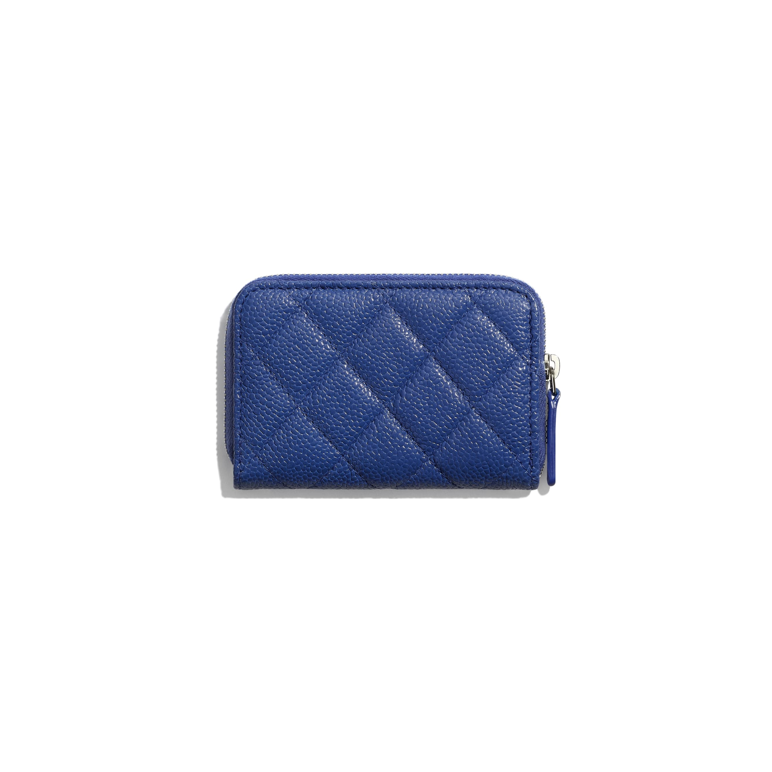 Zipped Coin Purse - Dark Blue - Grained Calfskin & Lacquered Metal - CHANEL - Alternative view - see standard sized version
