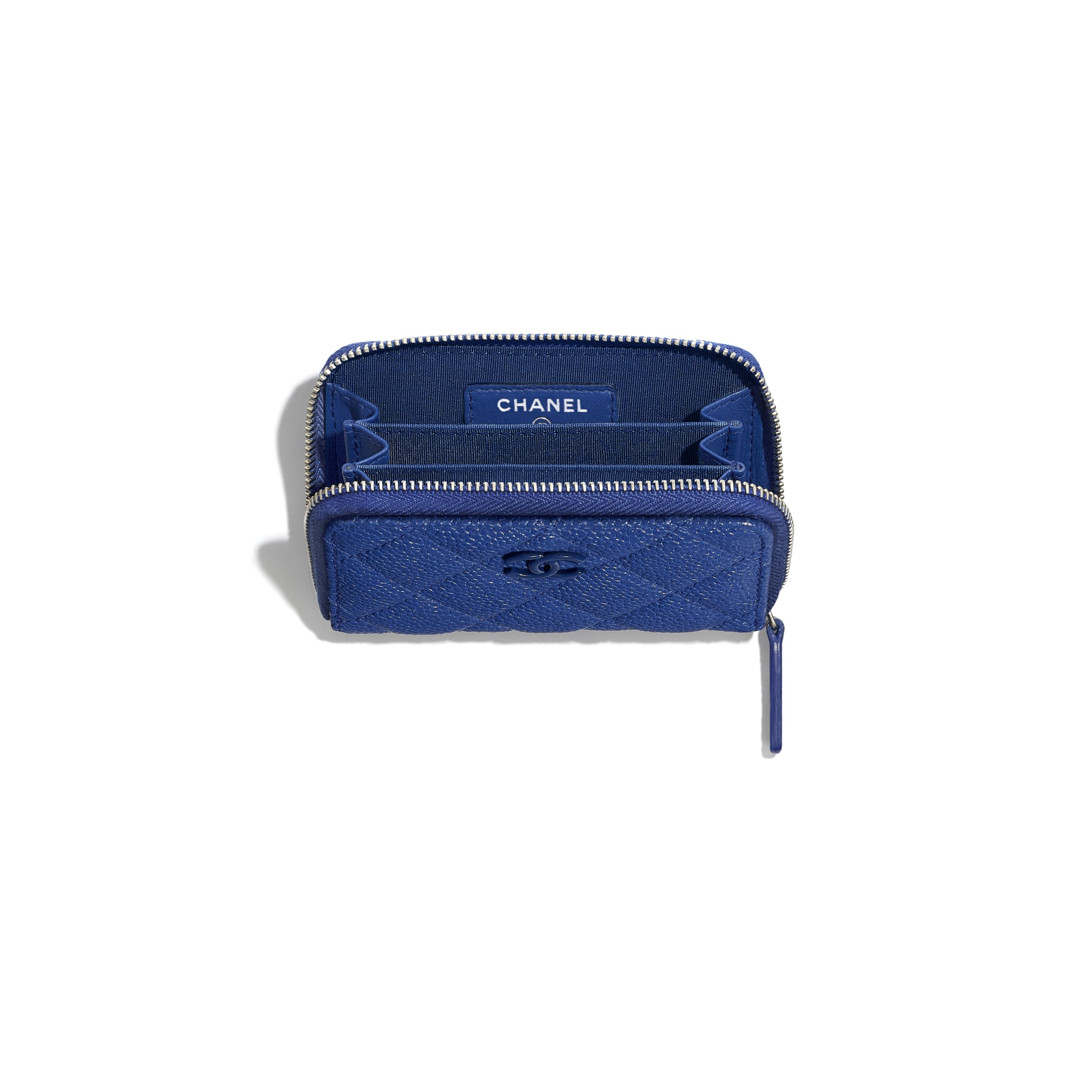 Zipped Coin Purse - Dark Blue - Grained Calfskin & Lacquered Metal - CHANEL - Other view - see standard sized version