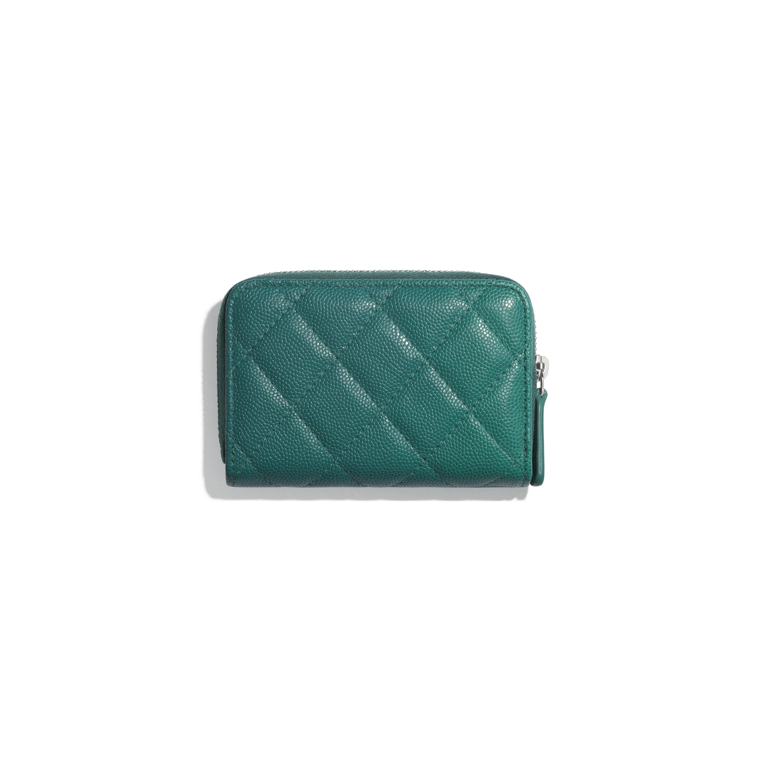 Zipped Coin Purse - Green & Pink - Grained Calfskin, Fabric & Silver-Tone Metal - CHANEL - Alternative view - see standard sized version