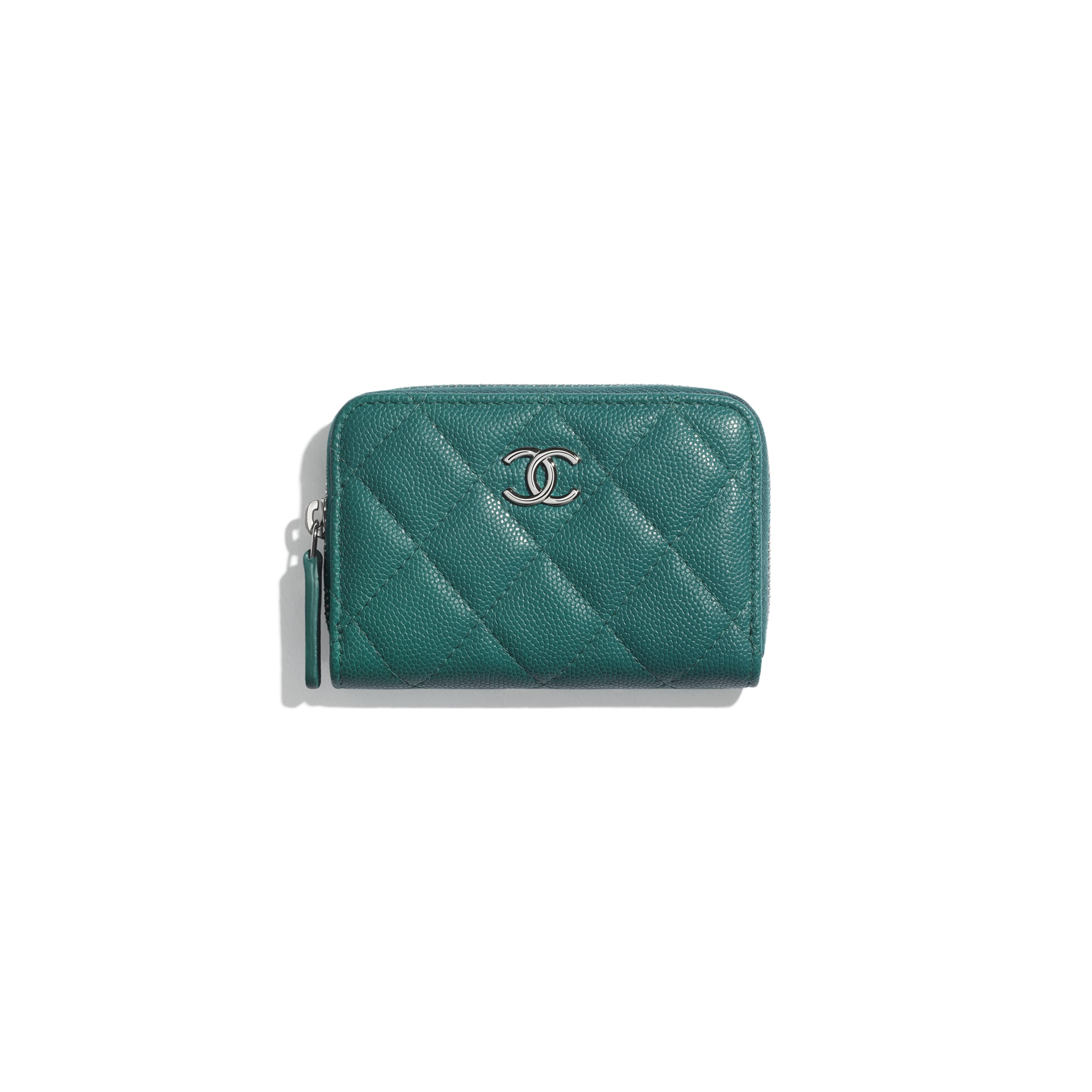 Zipped Coin Purse - Green & Pink - Grained Calfskin, Fabric & Silver-Tone Metal - CHANEL - Default view - see standard sized version