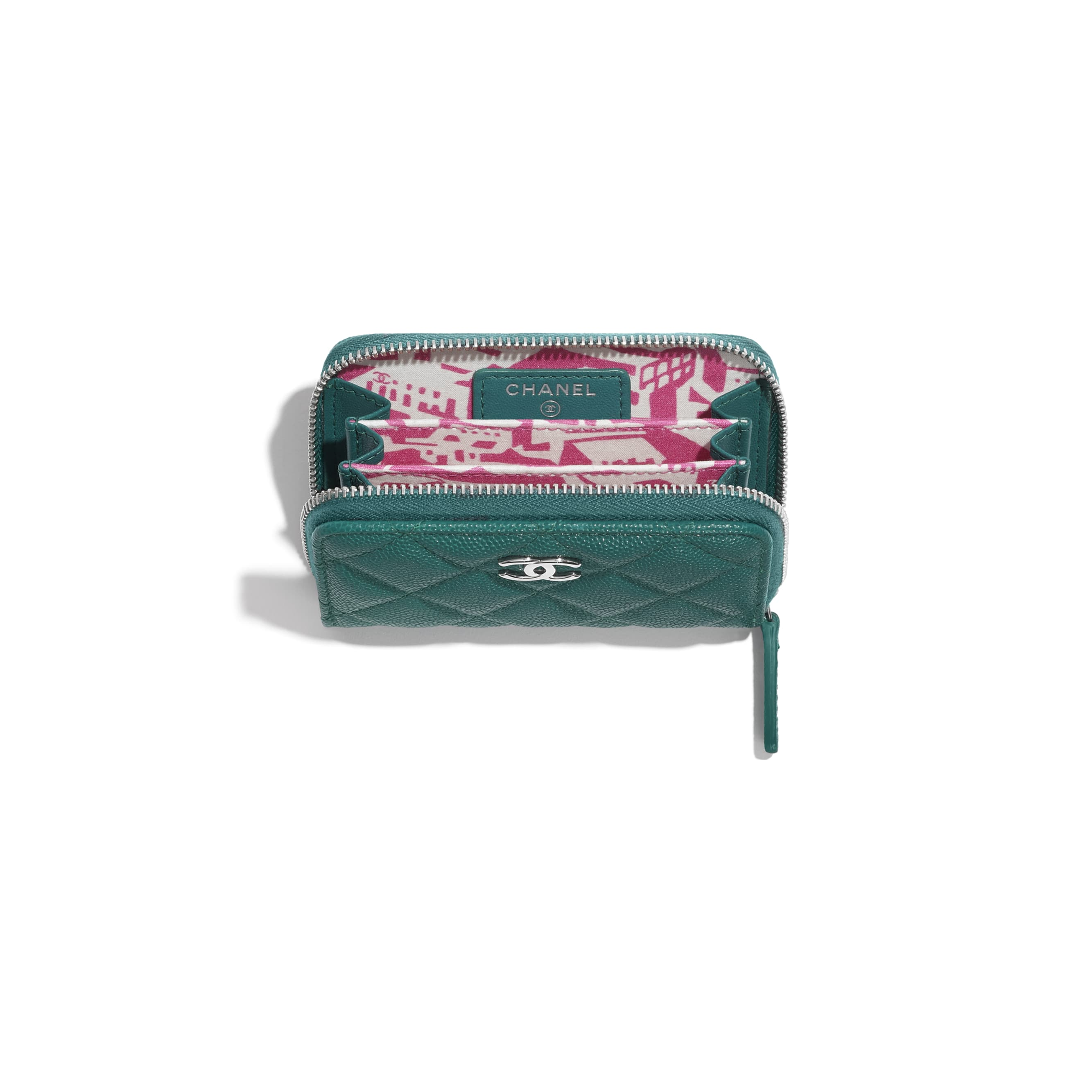 Zipped Coin Purse - Green & Pink - Grained Calfskin, Fabric & Silver-Tone Metal - CHANEL - Other view - see standard sized version