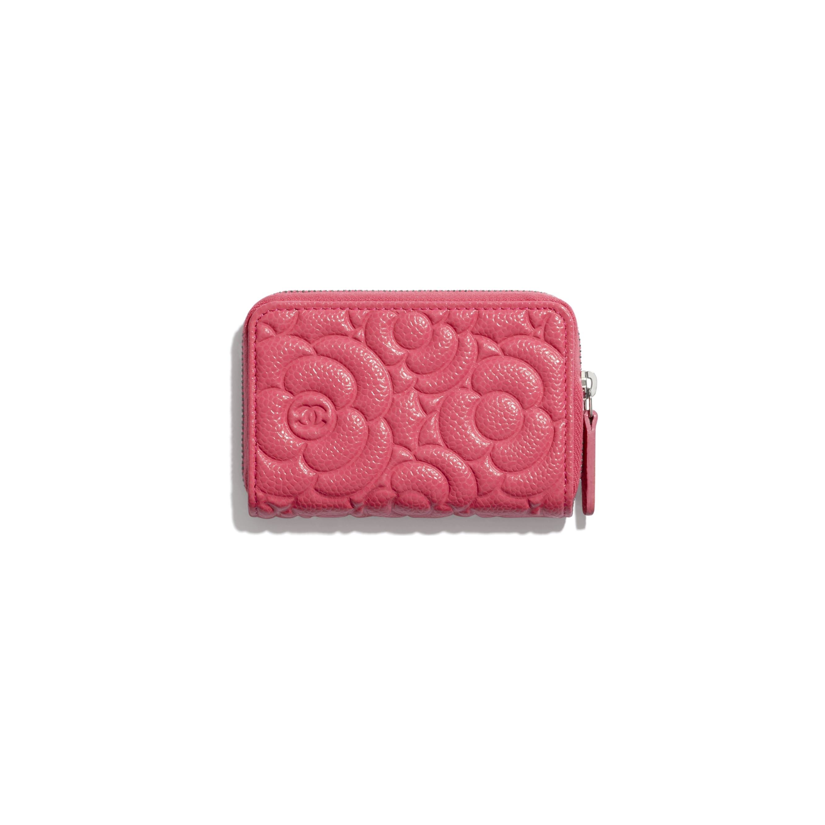 Zipped Coin Purse - Pink - Grained Calfskin & Silver Metal - CHANEL - Alternative view - see standard sized version