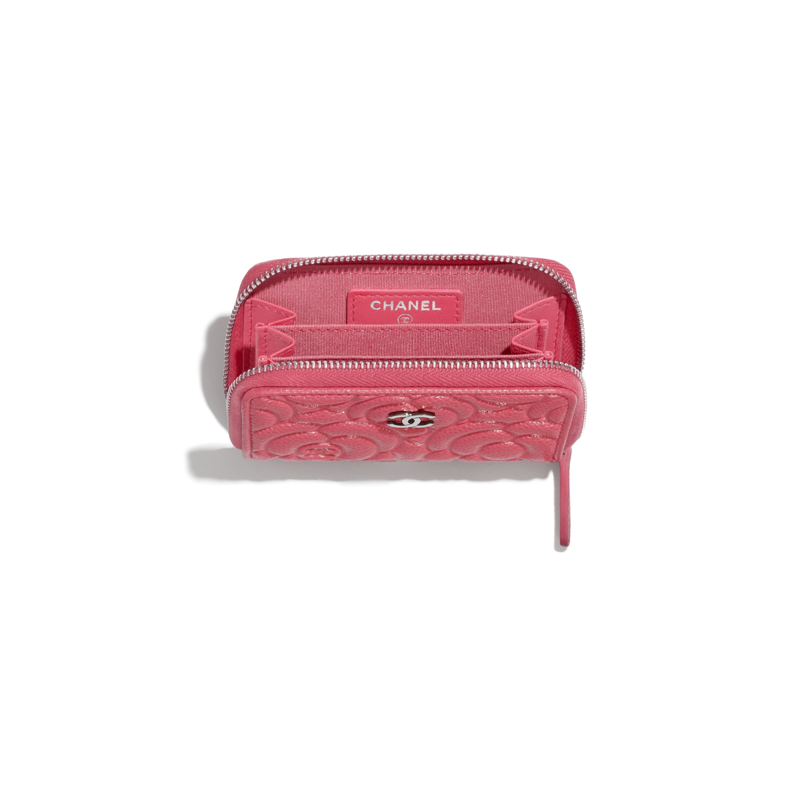Zipped Coin Purse - Pink - Grained Calfskin & Silver Metal - CHANEL - Other view - see standard sized version