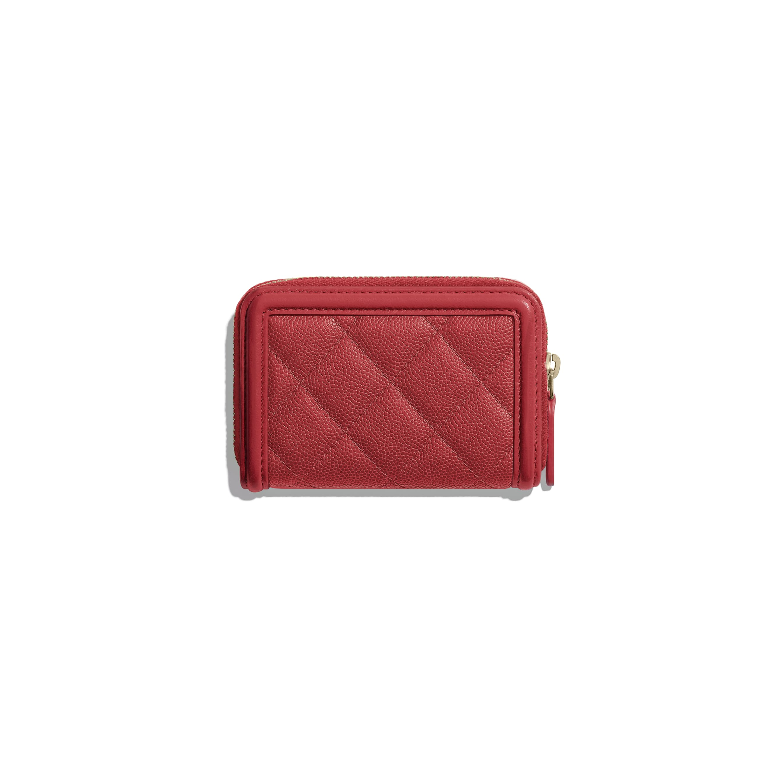 Zipped Coin Purse - Red - Grained Calfskin & Gold-Tone Metal - CHANEL - Alternative view - see standard sized version