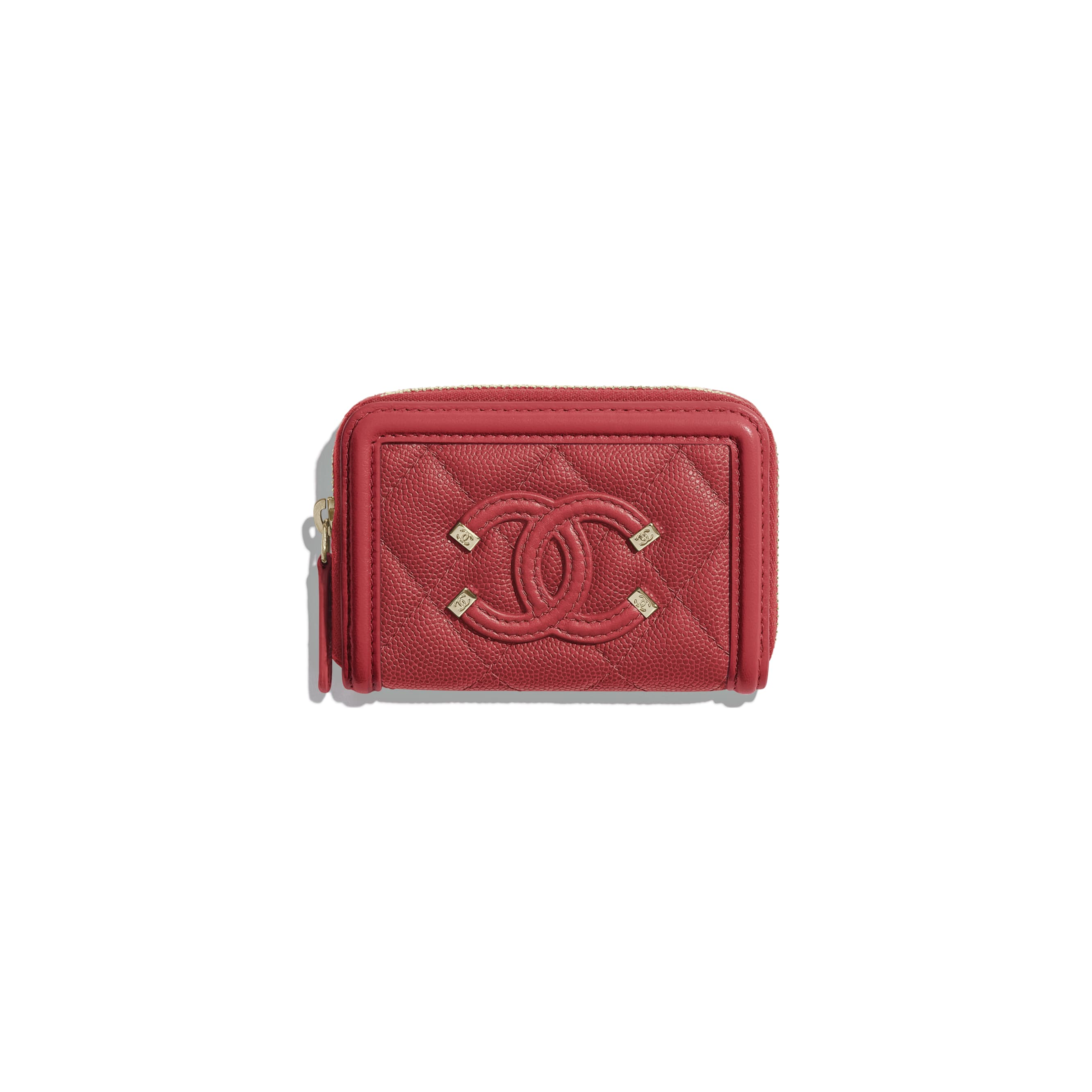 Zipped Coin Purse - Red - Grained Calfskin & Gold-Tone Metal - CHANEL - Default view - see standard sized version