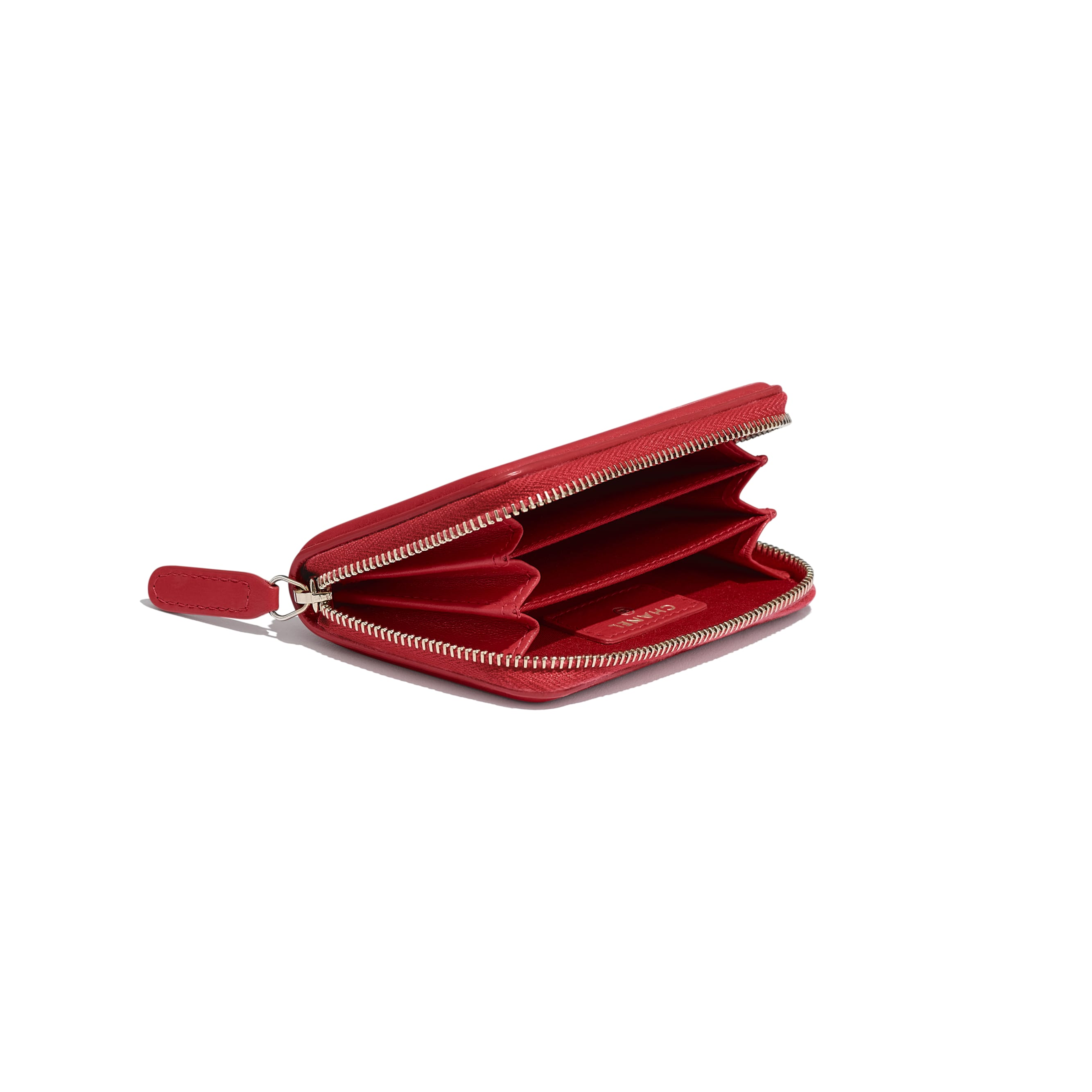 Zipped Coin Purse - Red - Grained Calfskin & Gold-Tone Metal - CHANEL - Extra view - see standard sized version