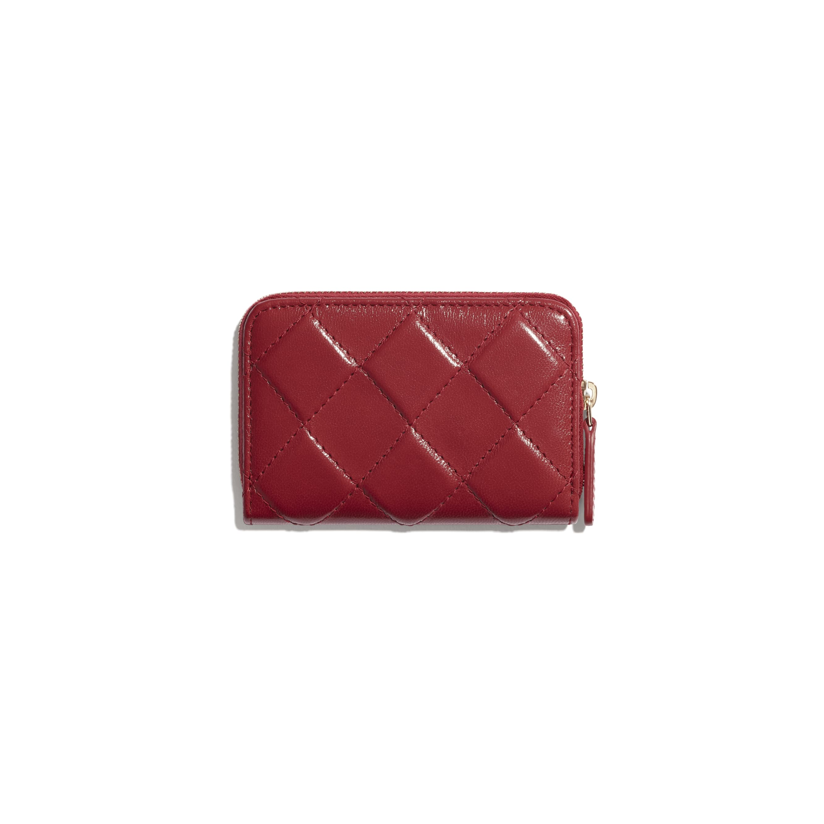 Zipped Coin Purse - Red - Shiny Crumpled Goatskin & Gold-Tone Metal - CHANEL - Alternative view - see standard sized version