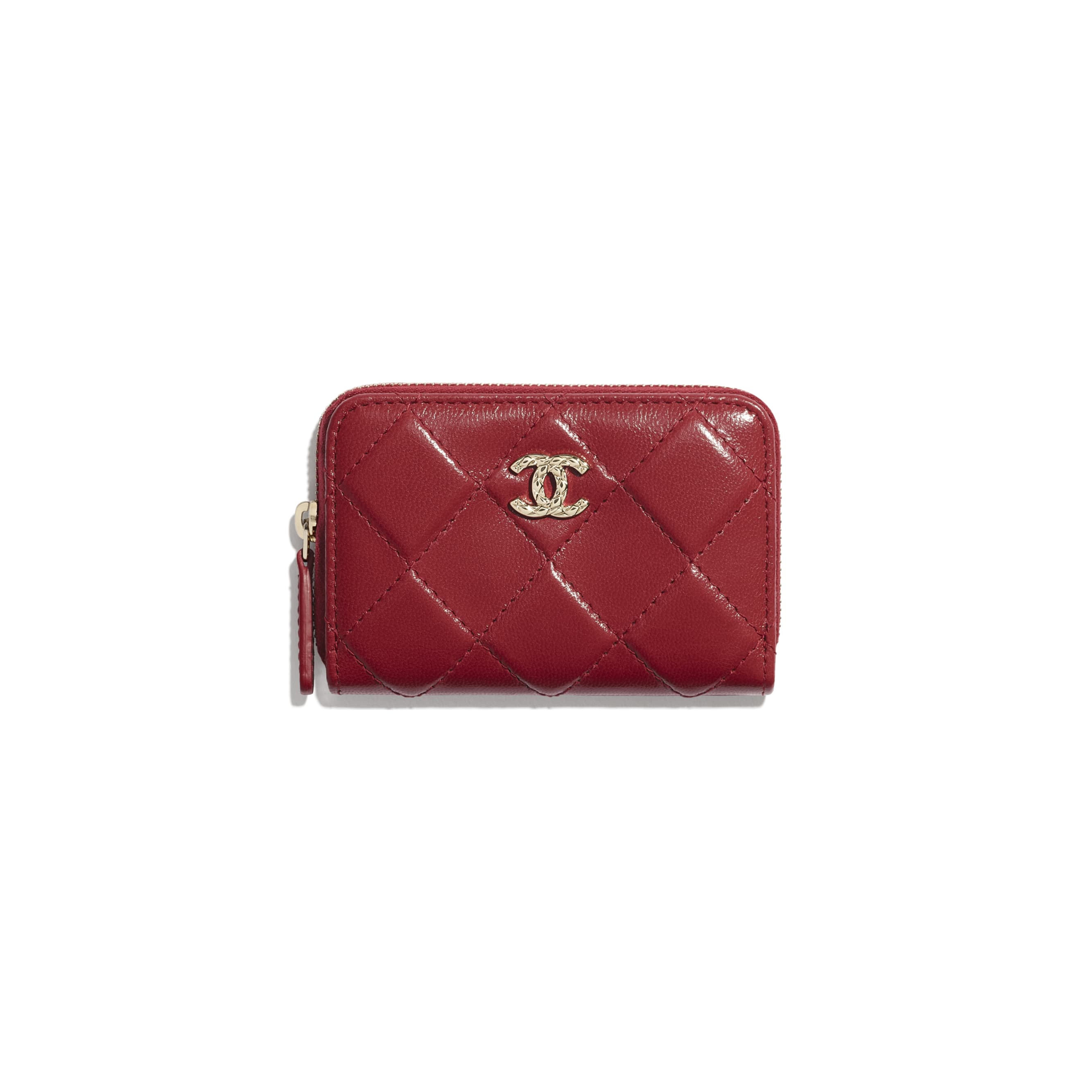Zipped Coin Purse - Red - Shiny Crumpled Goatskin & Gold-Tone Metal - CHANEL - Default view - see standard sized version