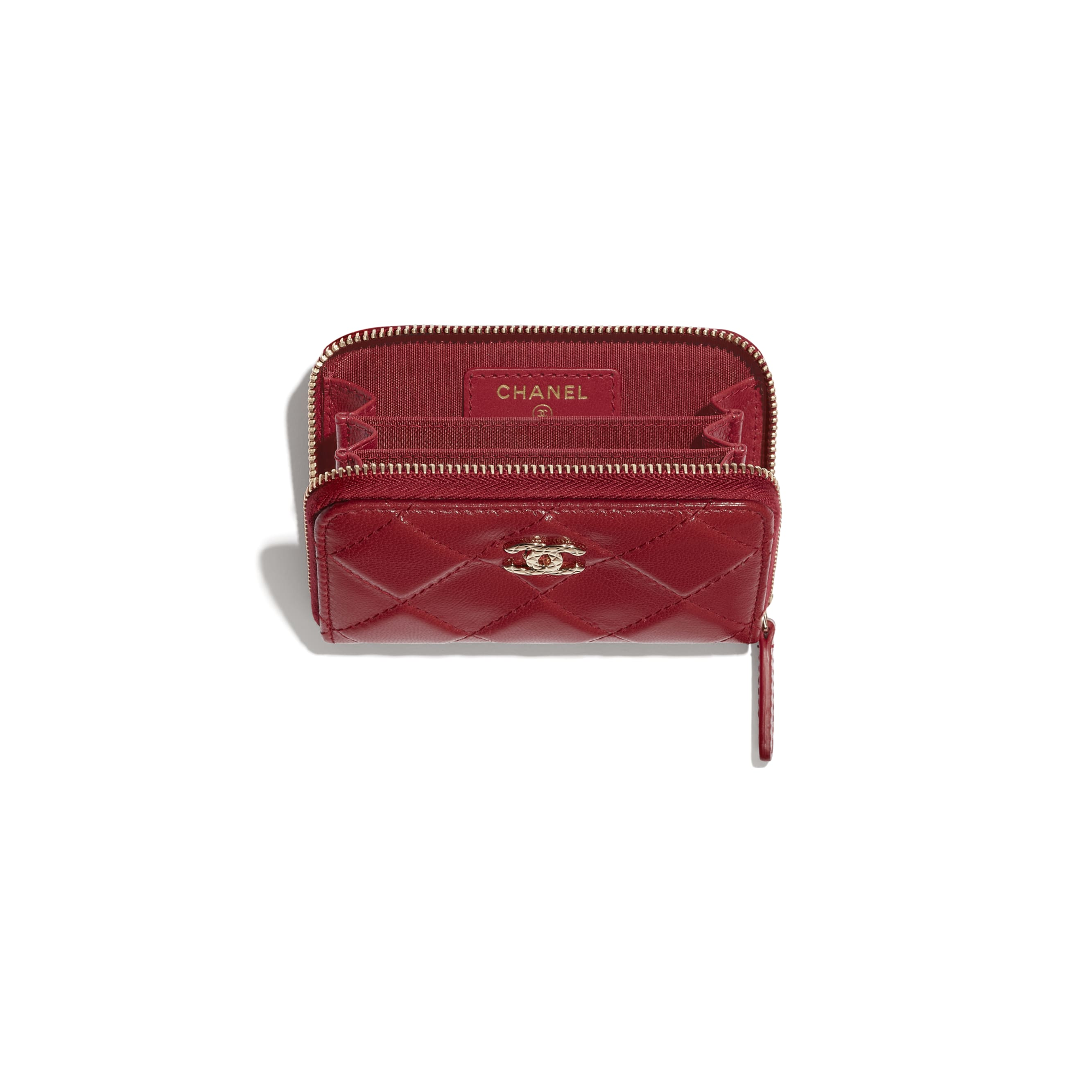 Zipped Coin Purse - Red - Shiny Crumpled Goatskin & Gold-Tone Metal - CHANEL - Other view - see standard sized version