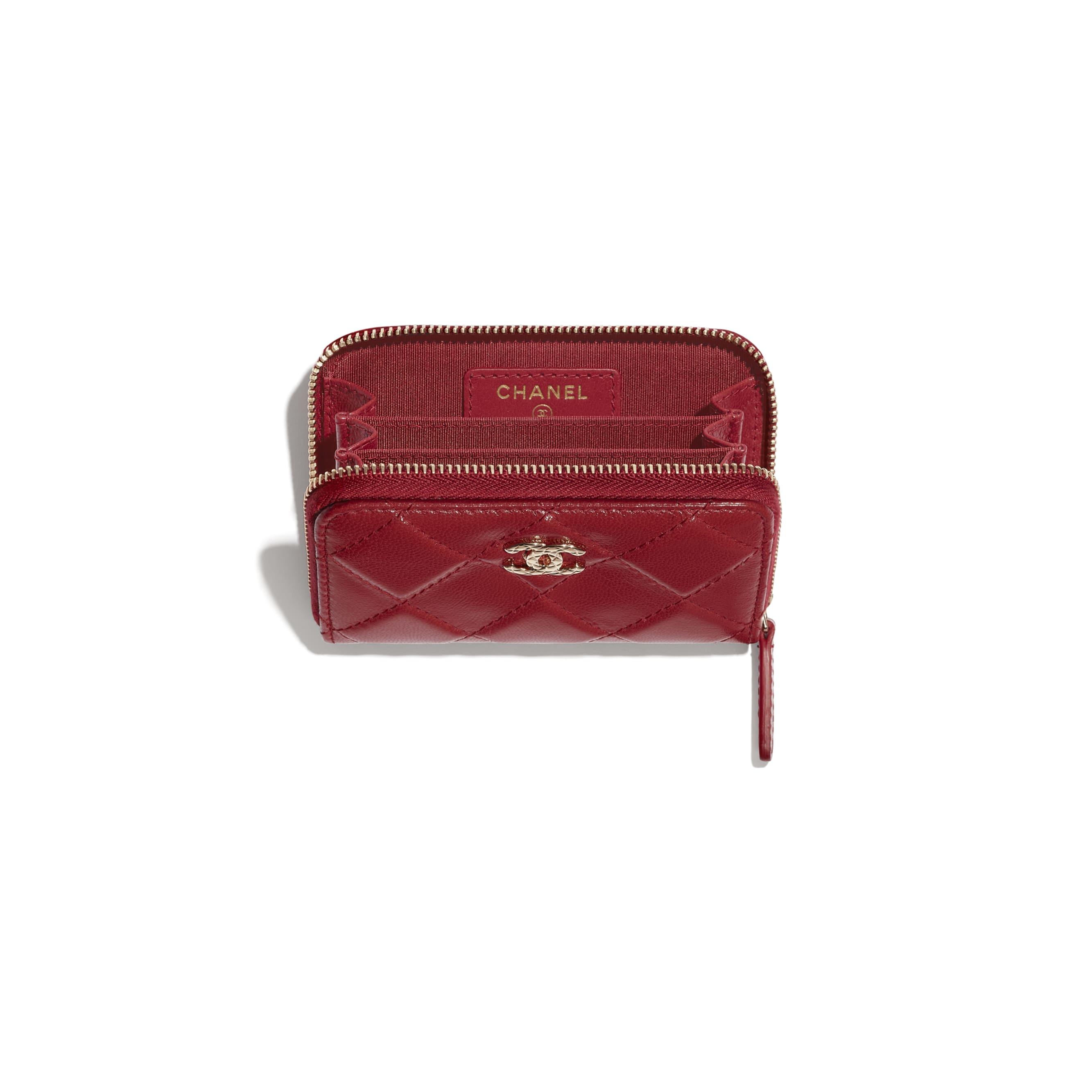 Monedero con cremallera - Rojo - Piel de cabra efecto arrugado con brillos y metal dorado - CHANEL - Otra vista - ver la versión tamaño estándar