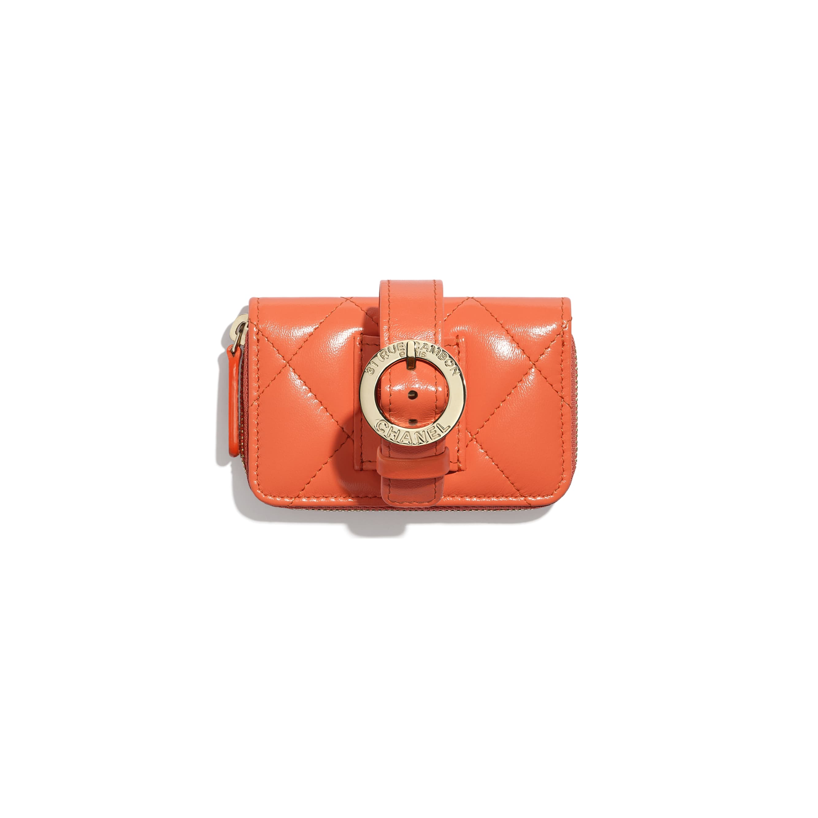 Zipped Coin Purse Wristlet - Orange - Shiny Crumpled Lambskin, Lacquered & Gold-Tone Metal - Alternative view - see standard sized version