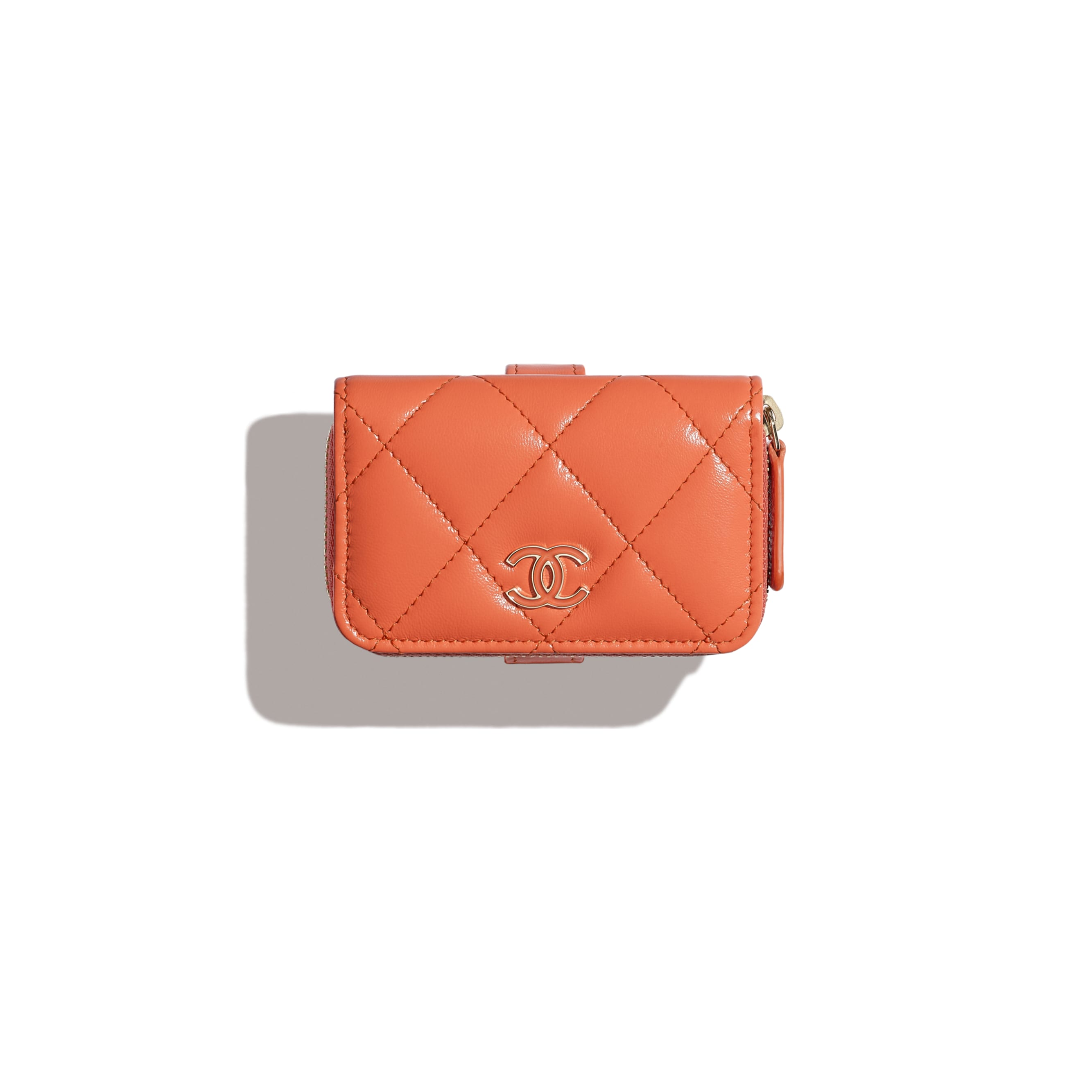 Zipped Coin Purse Wristlet - Orange - Shiny Crumpled Lambskin, Lacquered & Gold-Tone Metal - Default view - see standard sized version