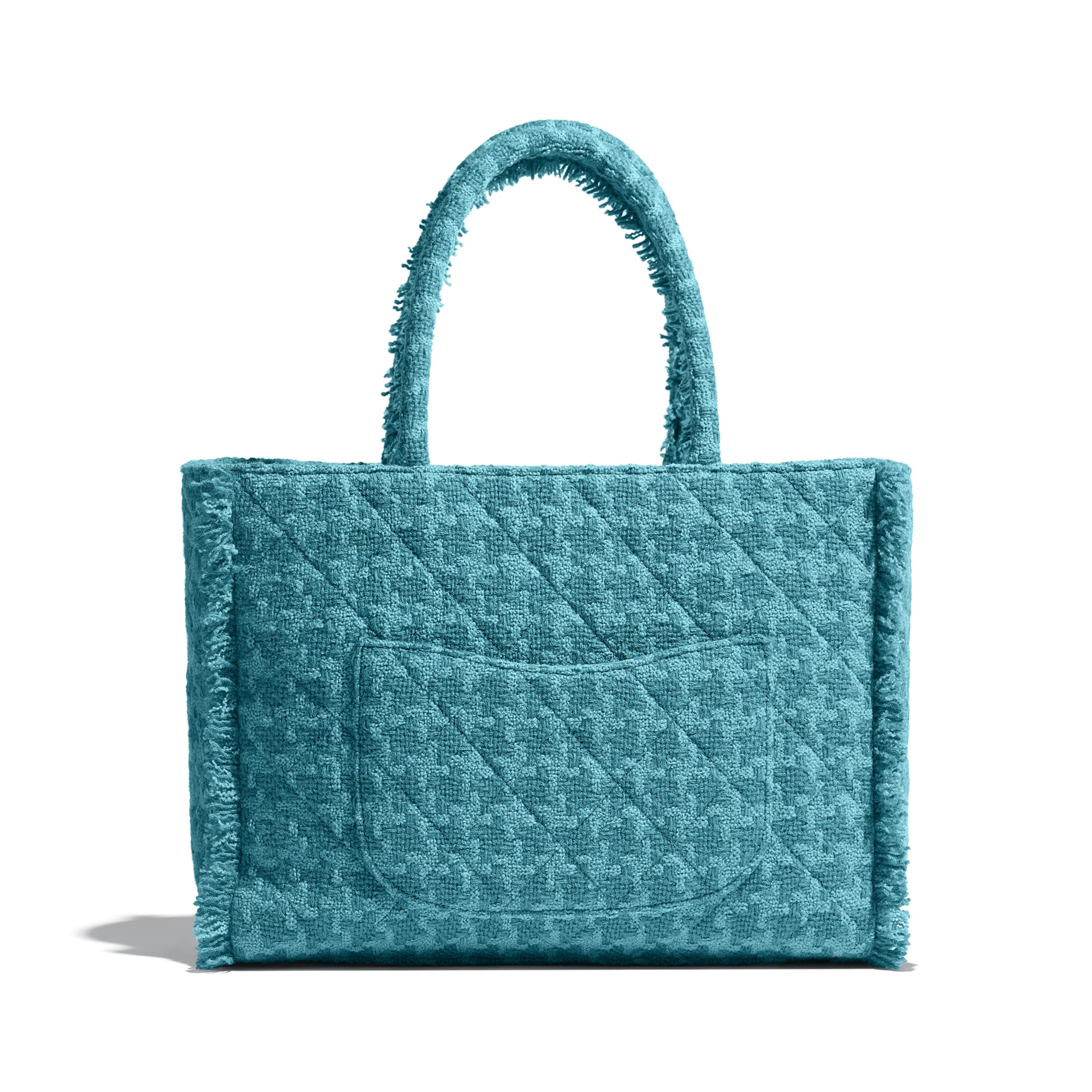 Zipped Shopping Bag - Turquoise - Wool Tweed & Gold-Tone Metal - Alternative view - see standard sized version