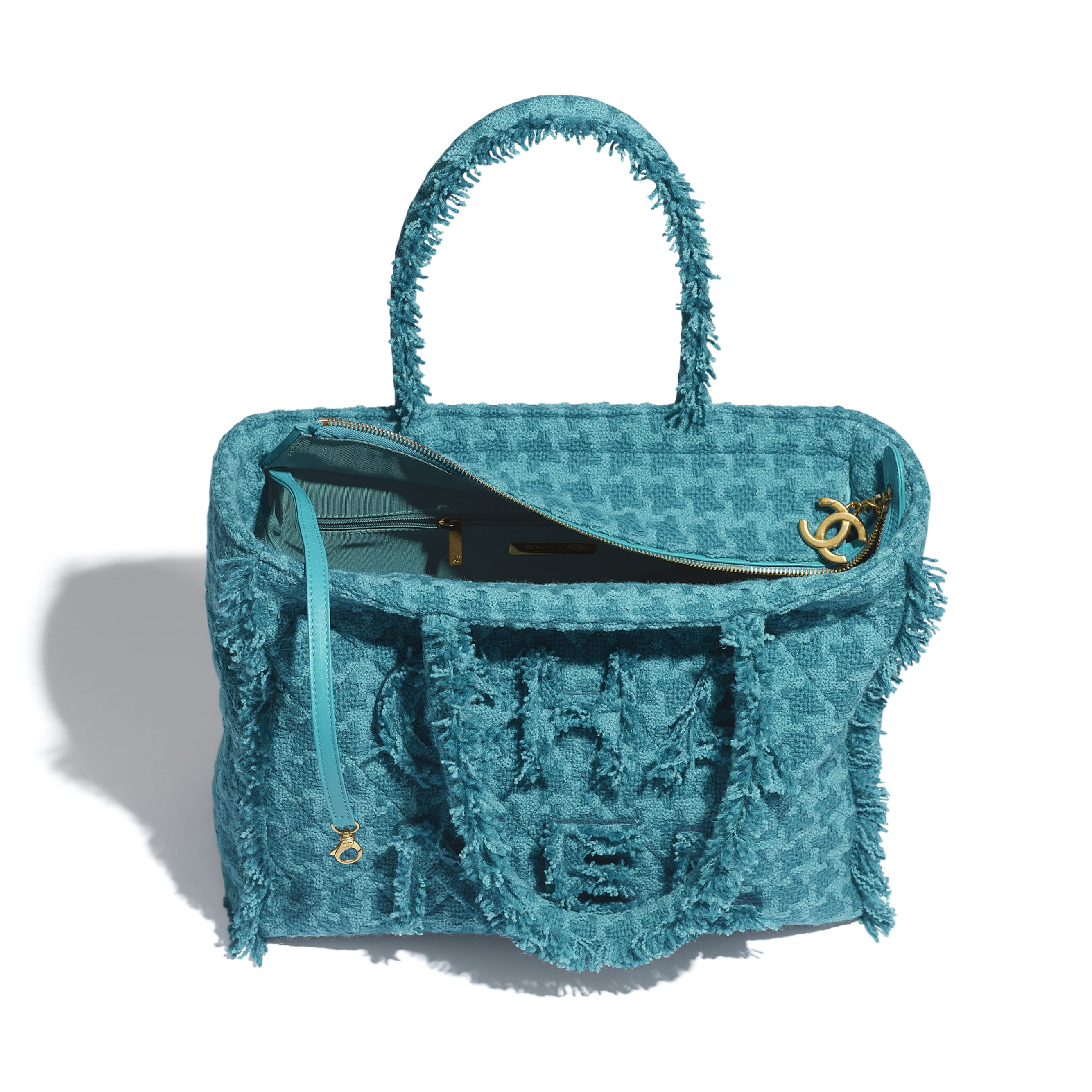 Zipped Shopping Bag - Turquoise - Wool Tweed & Gold-Tone Metal - Other view - see standard sized version