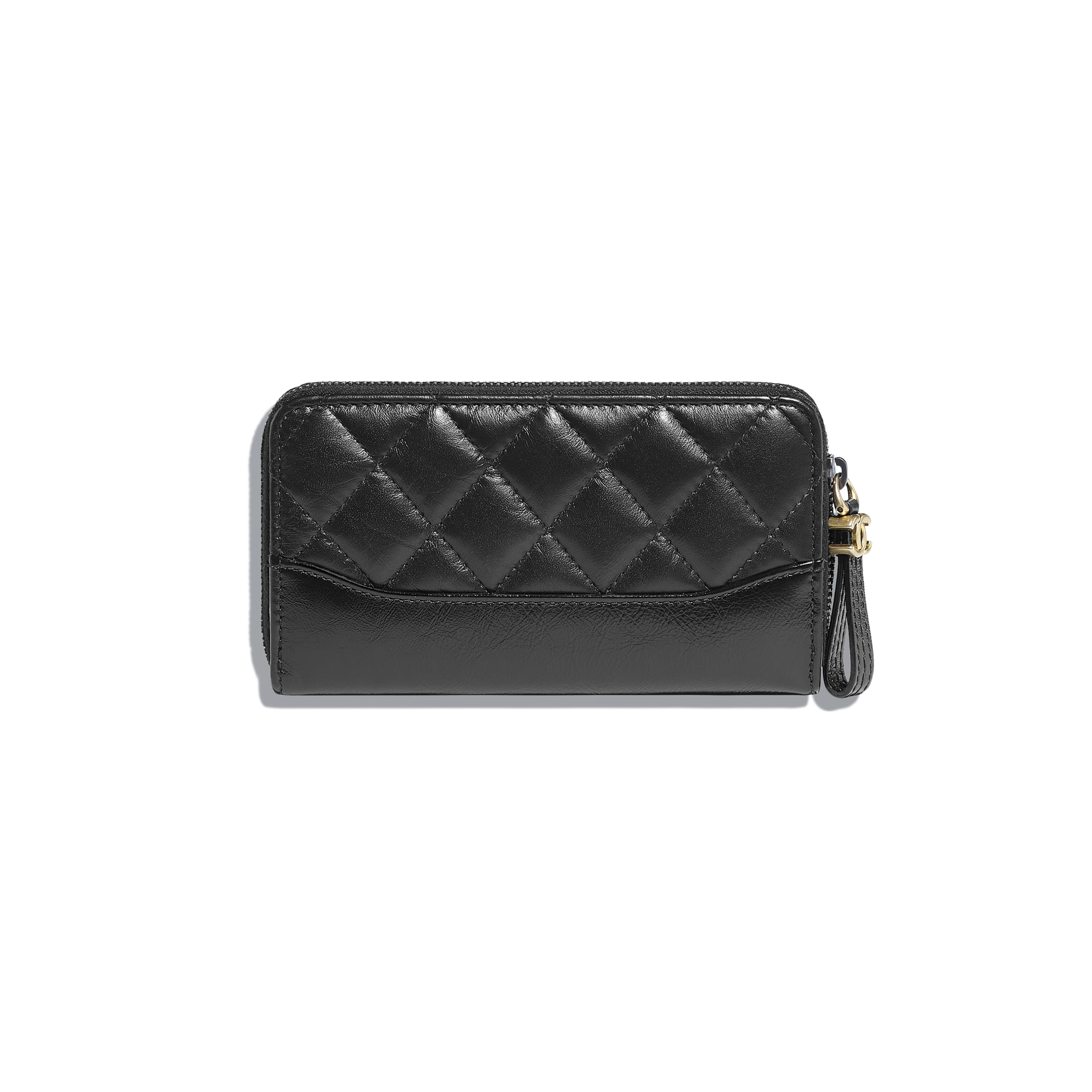 Zip Wallet - Black - Aged Calfskin, Smooth Calfskin, Gold-Tone, Silver-Tone & Ruthenium-Finish Metal - CHANEL - Alternative view - see standard sized version