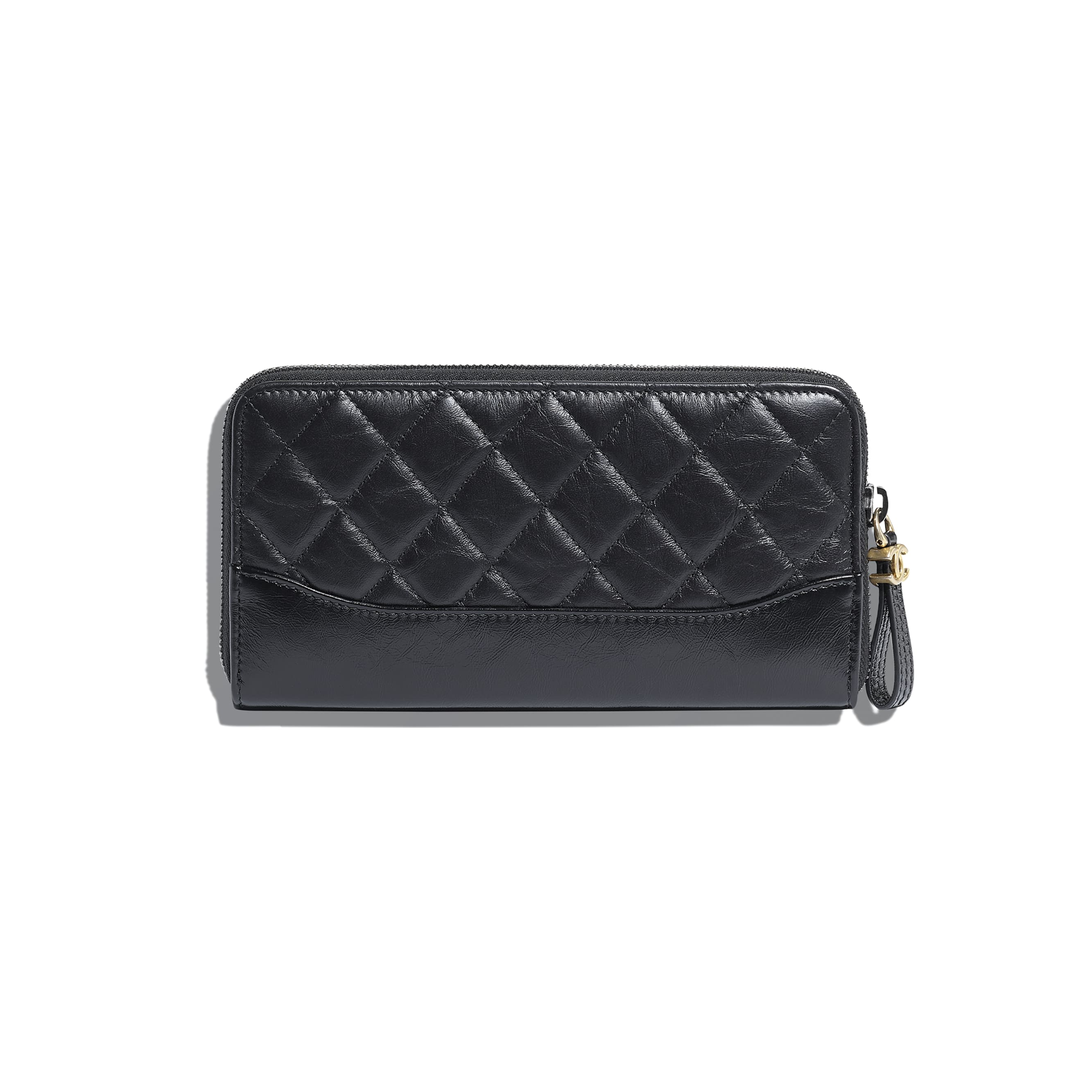Zip Wallet - Black - Aged Calfskin, Smooth Calfskin, Silver-Tone & Gold-Tone Metal - Alternative view - see standard sized version