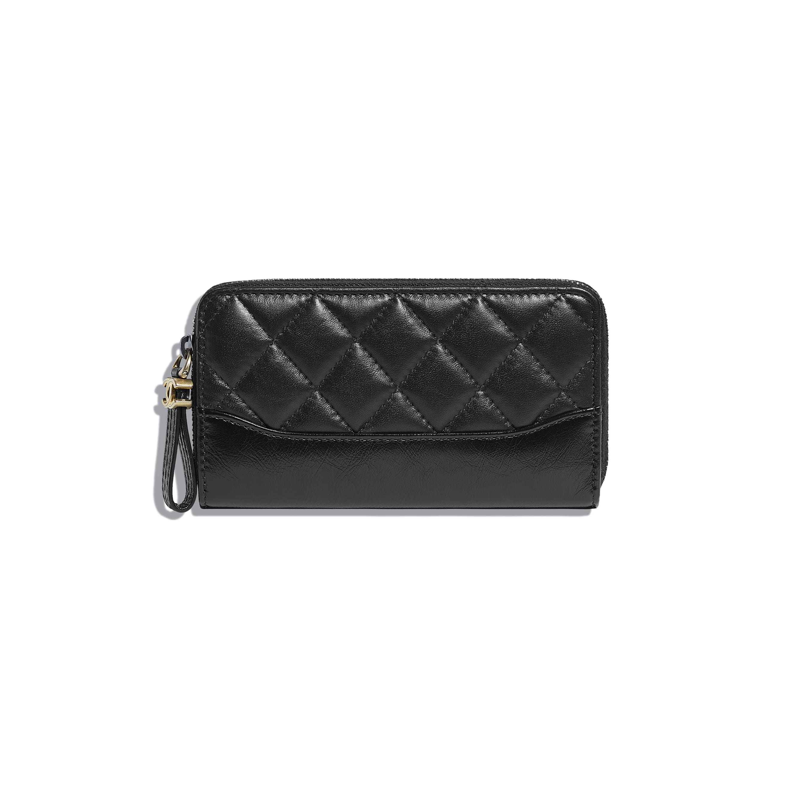 Zip Wallet - Black - Aged Calfskin, Smooth Calfskin, Silver-Tone & Gold-Tone Metal - Default view - see standard sized version