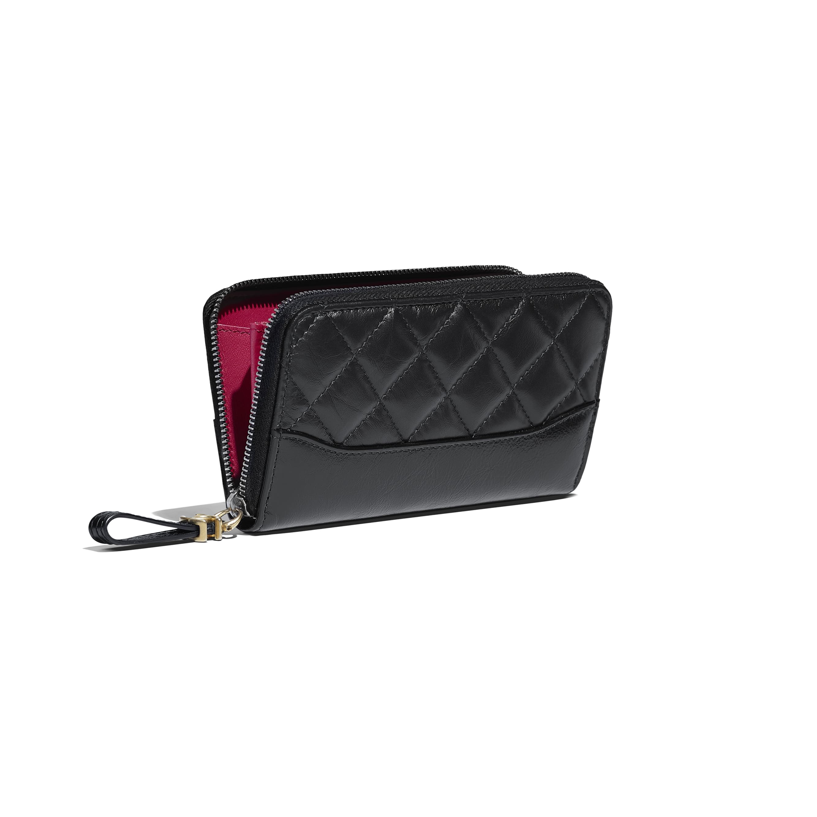 Zip Wallet - Black - Aged Calfskin, Smooth Calfskin, Silver-Tone & Gold-Tone Metal - Other view - see standard sized version