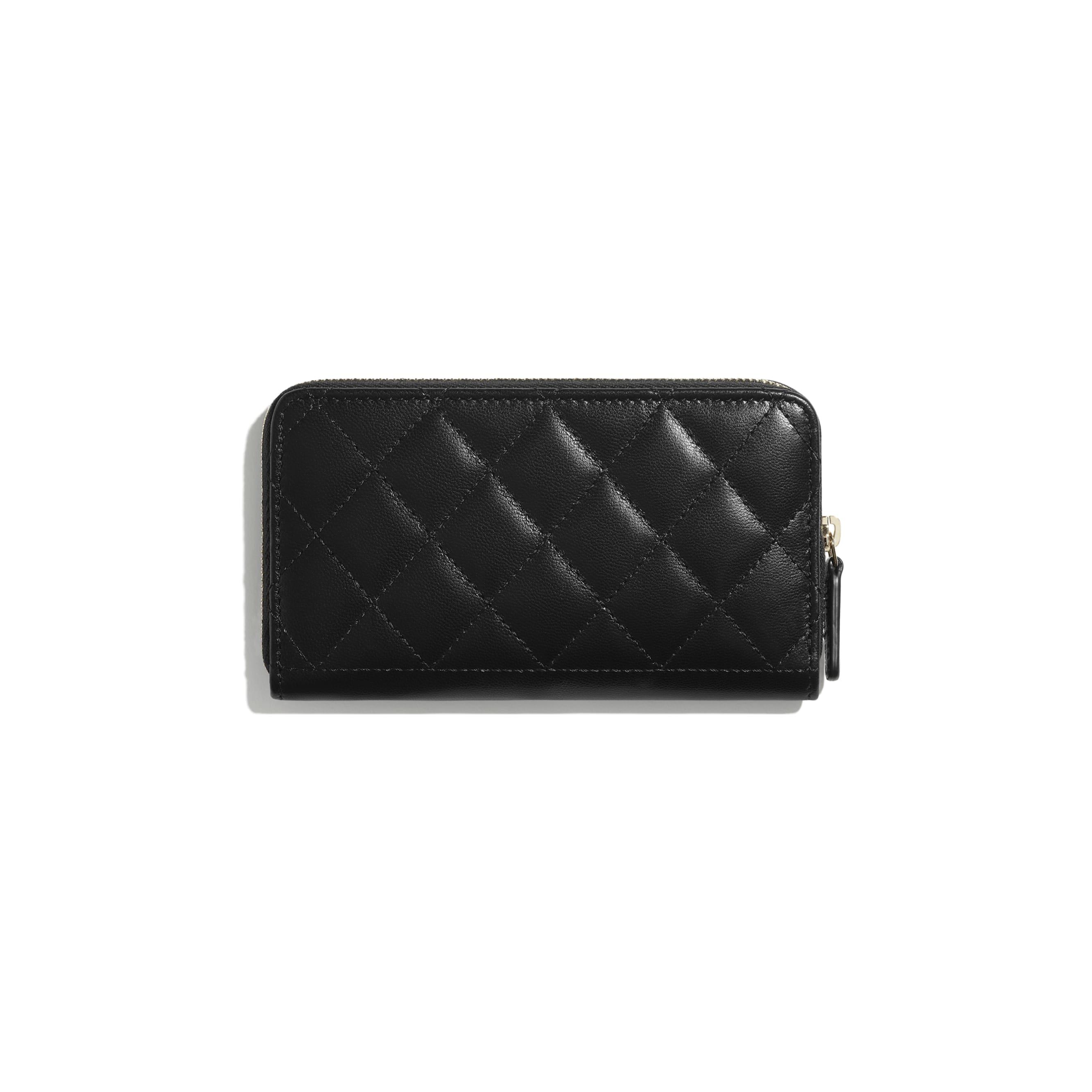 Brieftasche mit Reißverschluss - Schwarz - Ziegenleder & goldfarbenes Metall - CHANEL - Alternative Ansicht - Standardgröße anzeigen