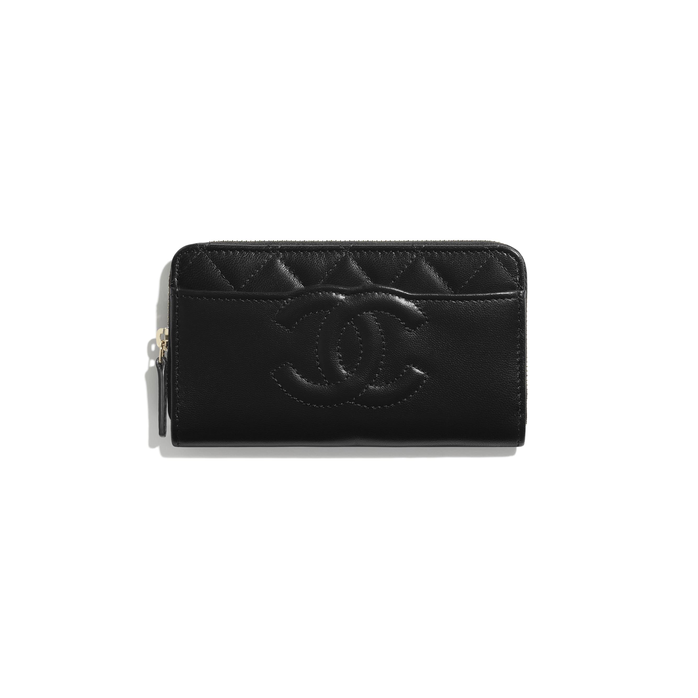 Brieftasche mit Reißverschluss - Schwarz - Ziegenleder & goldfarbenes Metall - CHANEL - Standardansicht - Standardgröße anzeigen