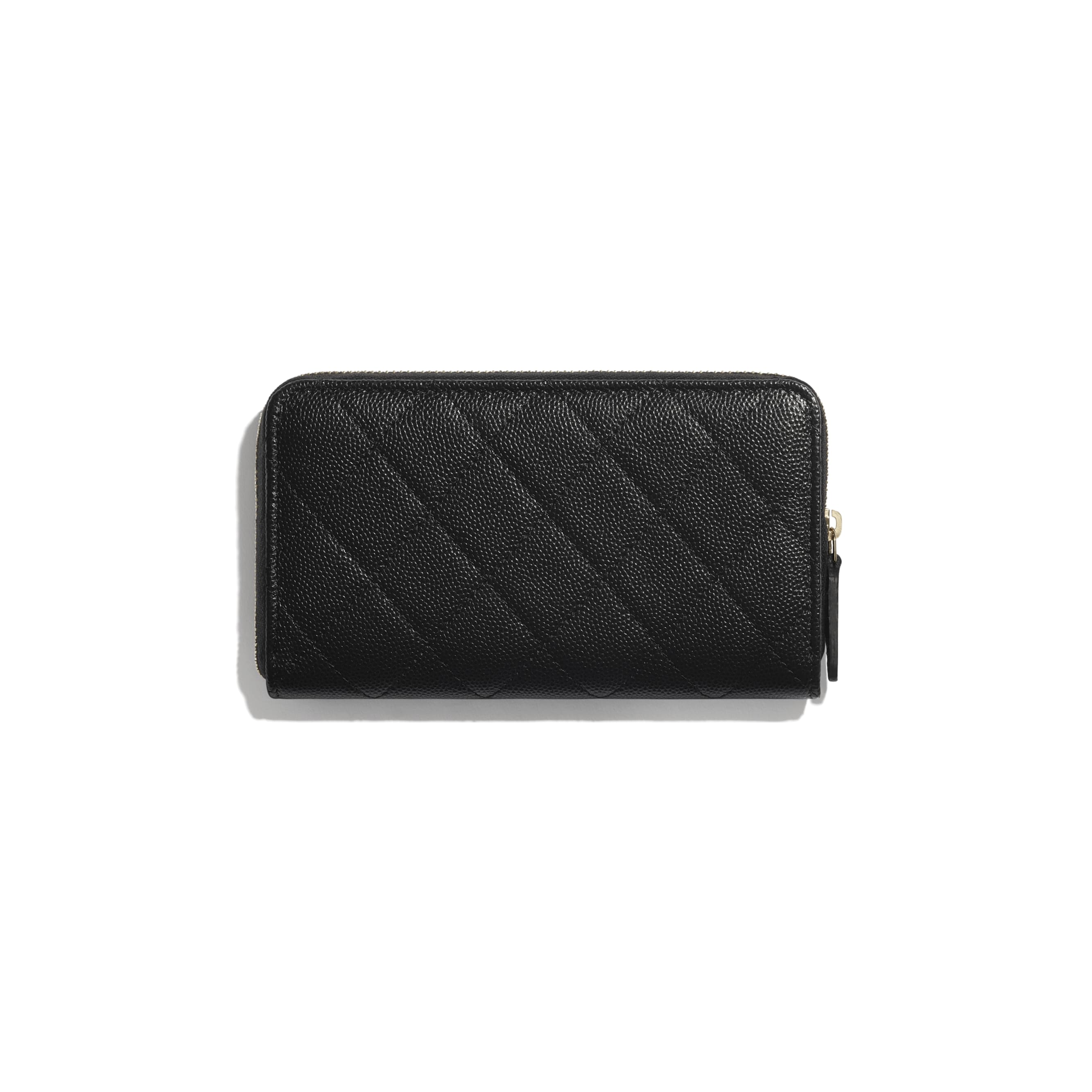 Zip Wallet - Black - Grained Calfskin & Gold-Tone Metal - CHANEL - Alternative view - see standard sized version