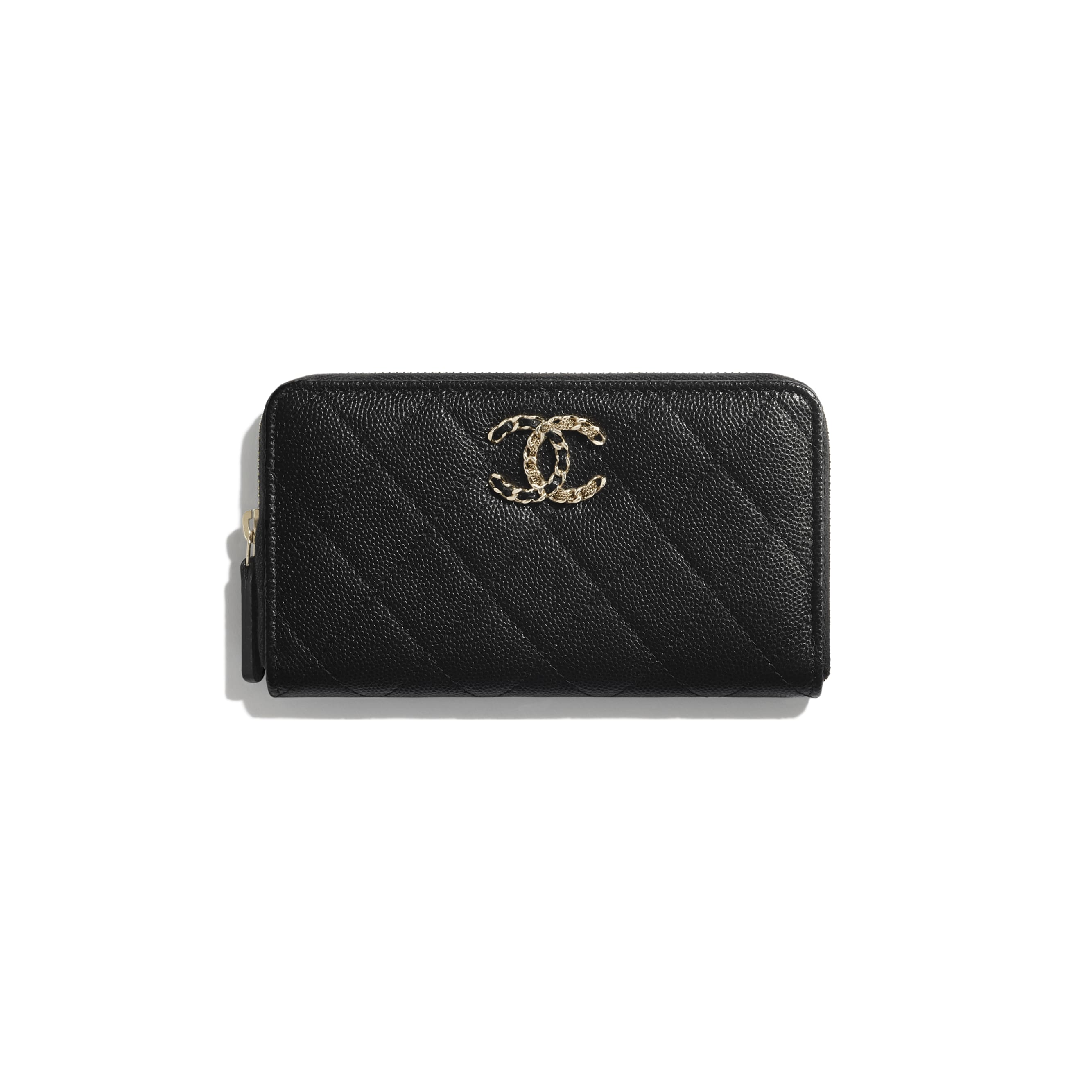 Zip Wallet - Black - Grained Calfskin & Gold-Tone Metal - CHANEL - Default view - see standard sized version