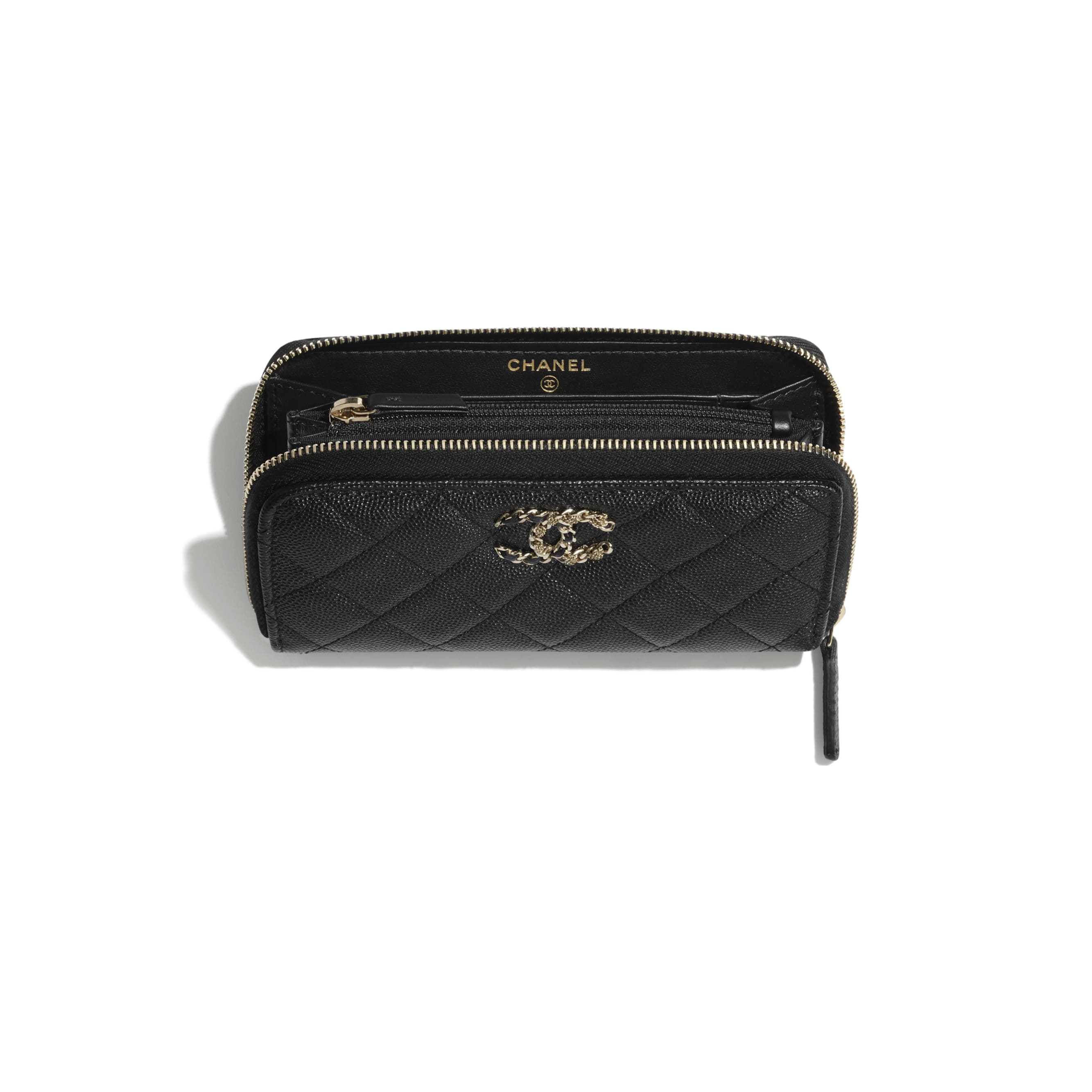 Zip Wallet - Black - Grained Calfskin & Gold-Tone Metal - CHANEL - Other view - see standard sized version