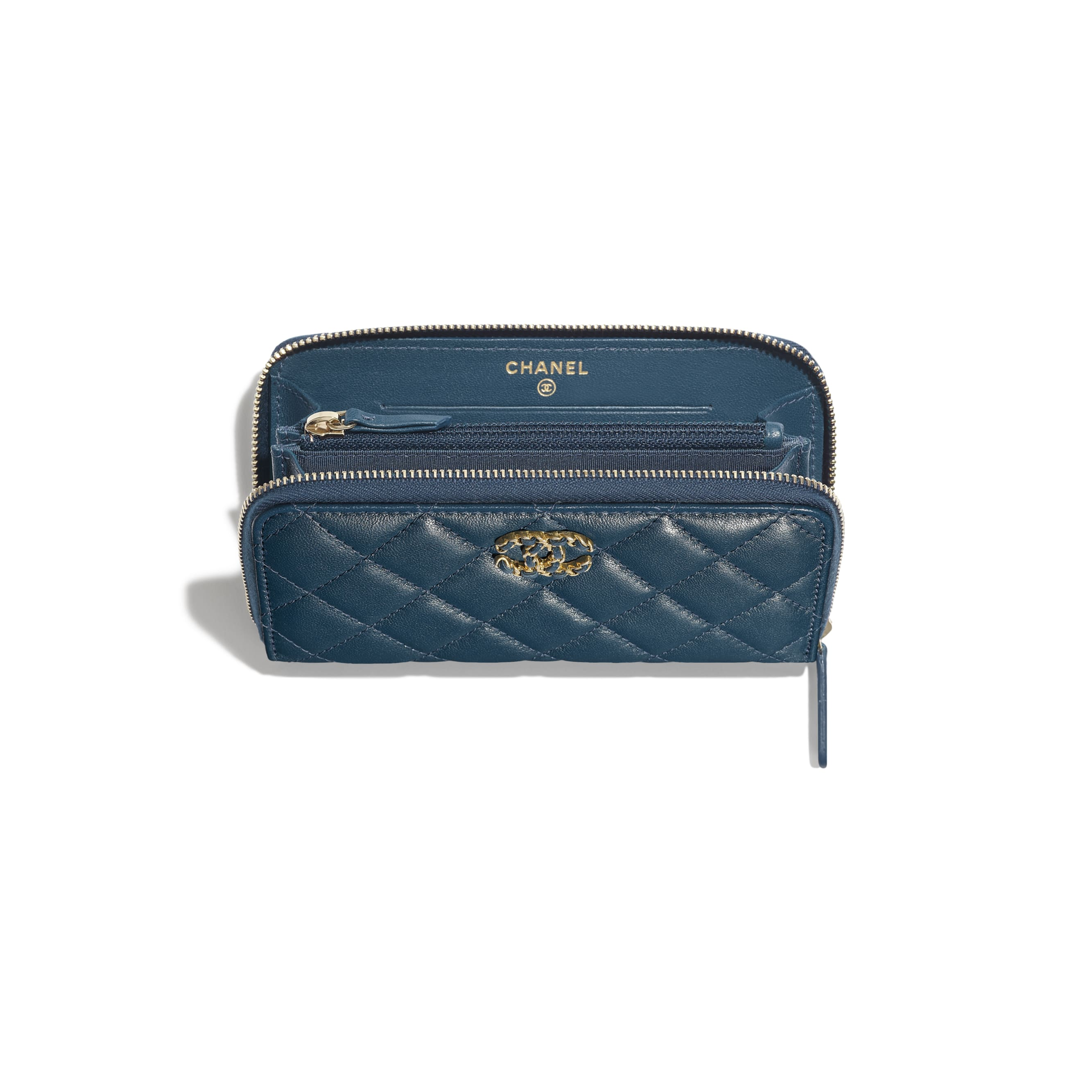 Zip Wallet - Blue - Lambskin - Other view - see standard sized version