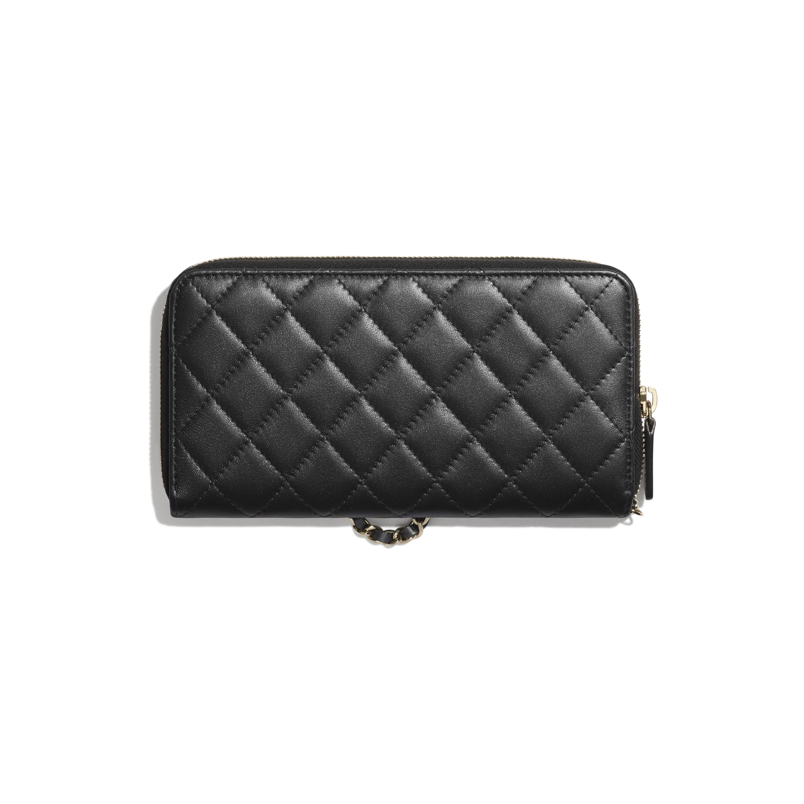 Zipped Wallet With Handle - Black - Iridescent lambskin & gold-tone metal - CHANEL - Alternative view - see standard sized version