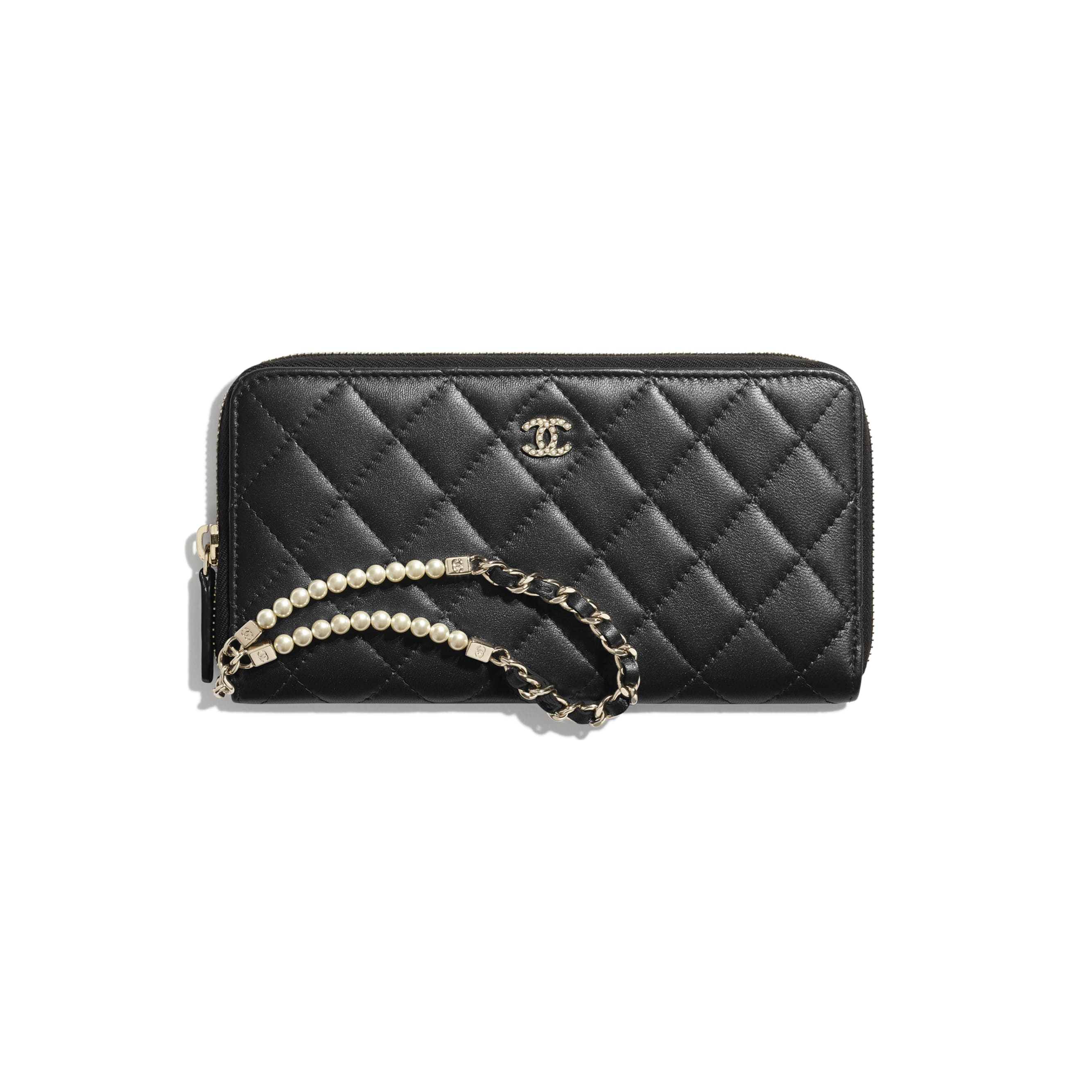 Zipped Wallet With Handle - Black - Iridescent lambskin & gold-tone metal - CHANEL - Default view - see standard sized version
