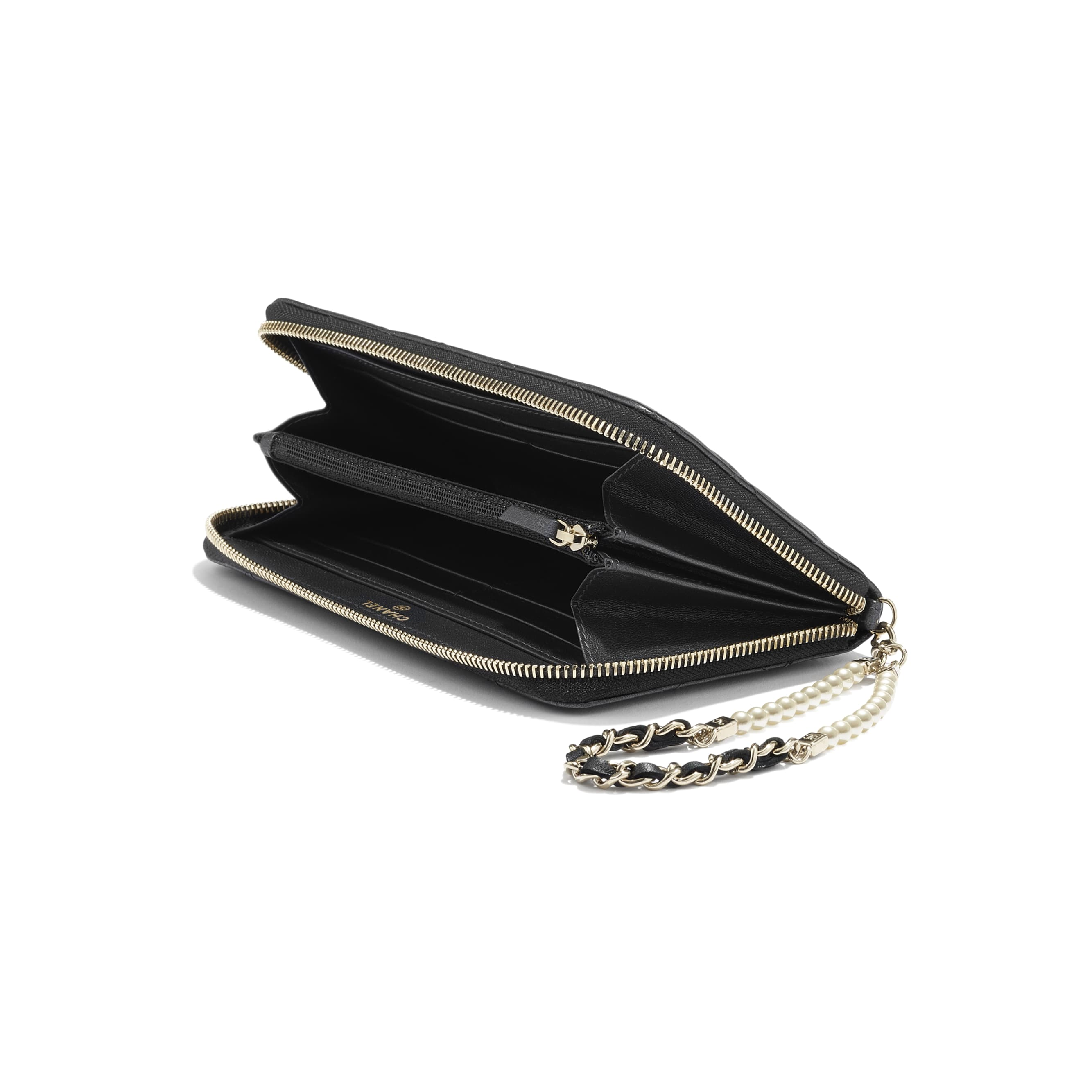 Zipped Wallet With Handle - Black - Iridescent lambskin & gold-tone metal - CHANEL - Extra view - see standard sized version
