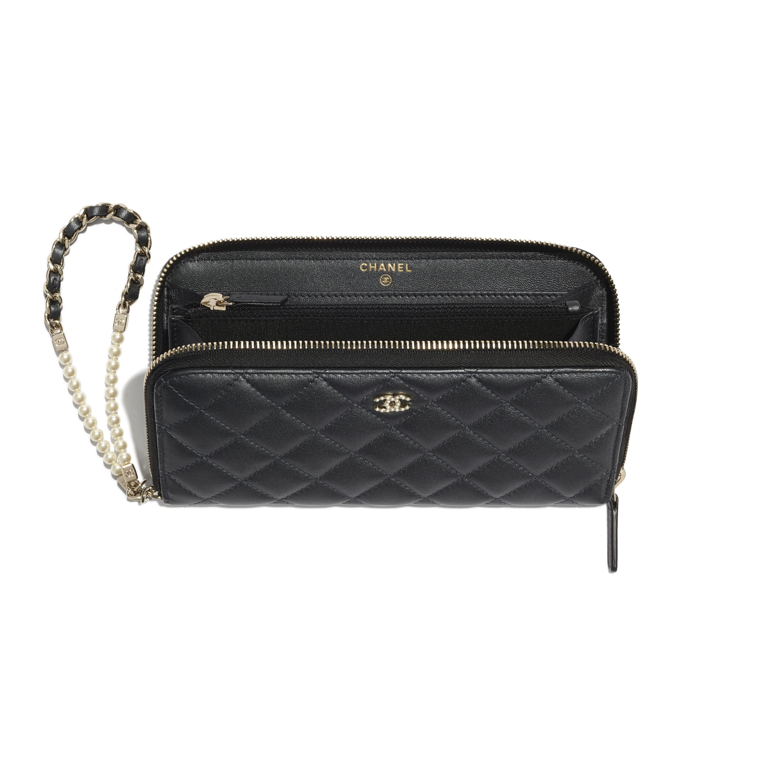 Zipped Wallet With Handle - Black - Iridescent lambskin & gold-tone metal - CHANEL - Other view - see standard sized version