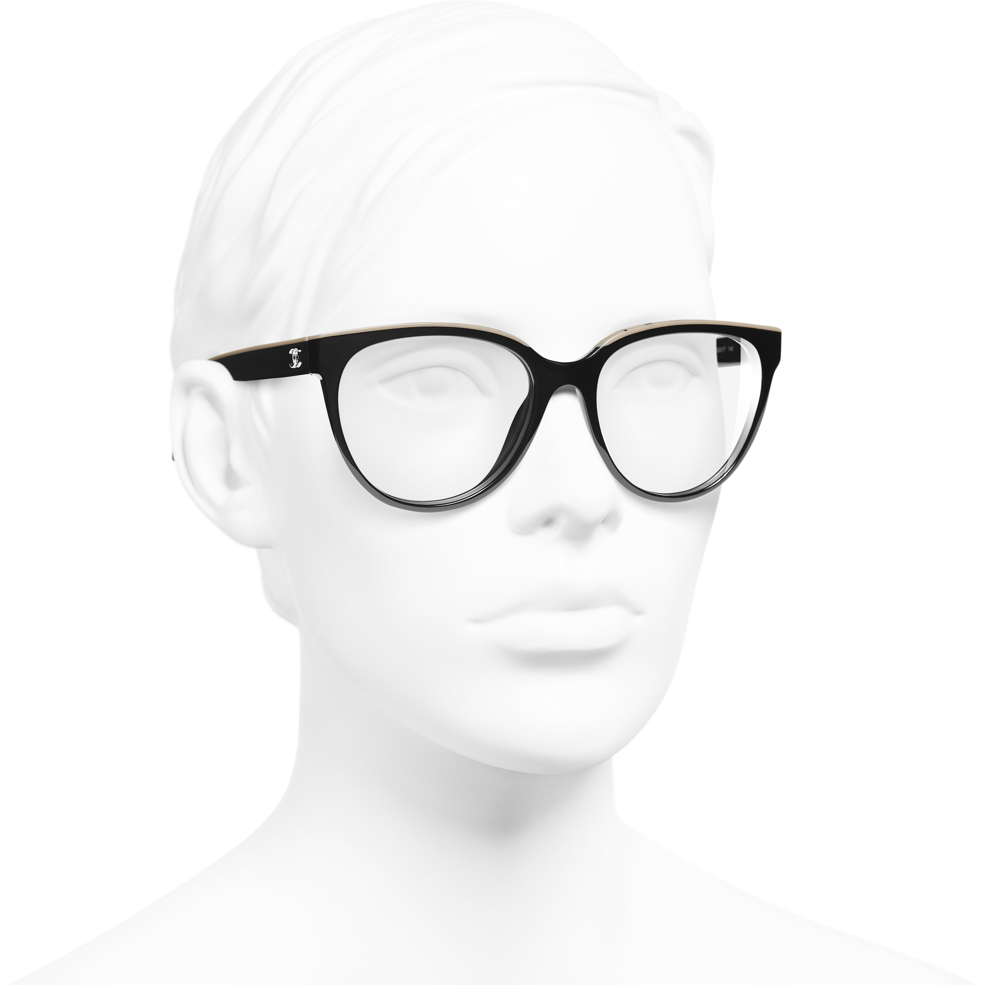 Butterfly Eyeglasses - Black & Beige - Acetate - Worn 3/4 view - see standard sized version