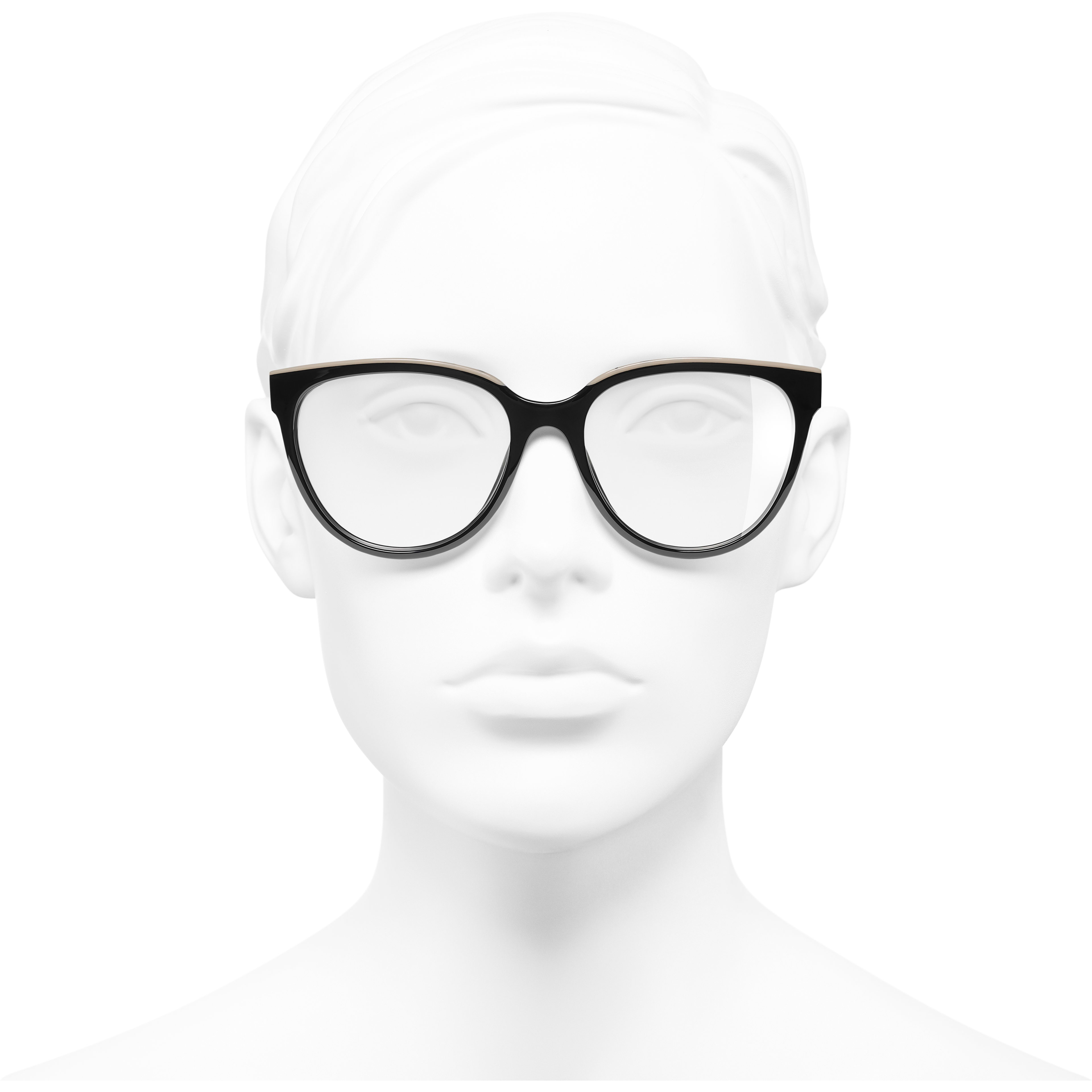Butterfly Eyeglasses - Black & Beige - Acetate - Worn front view - see standard sized version