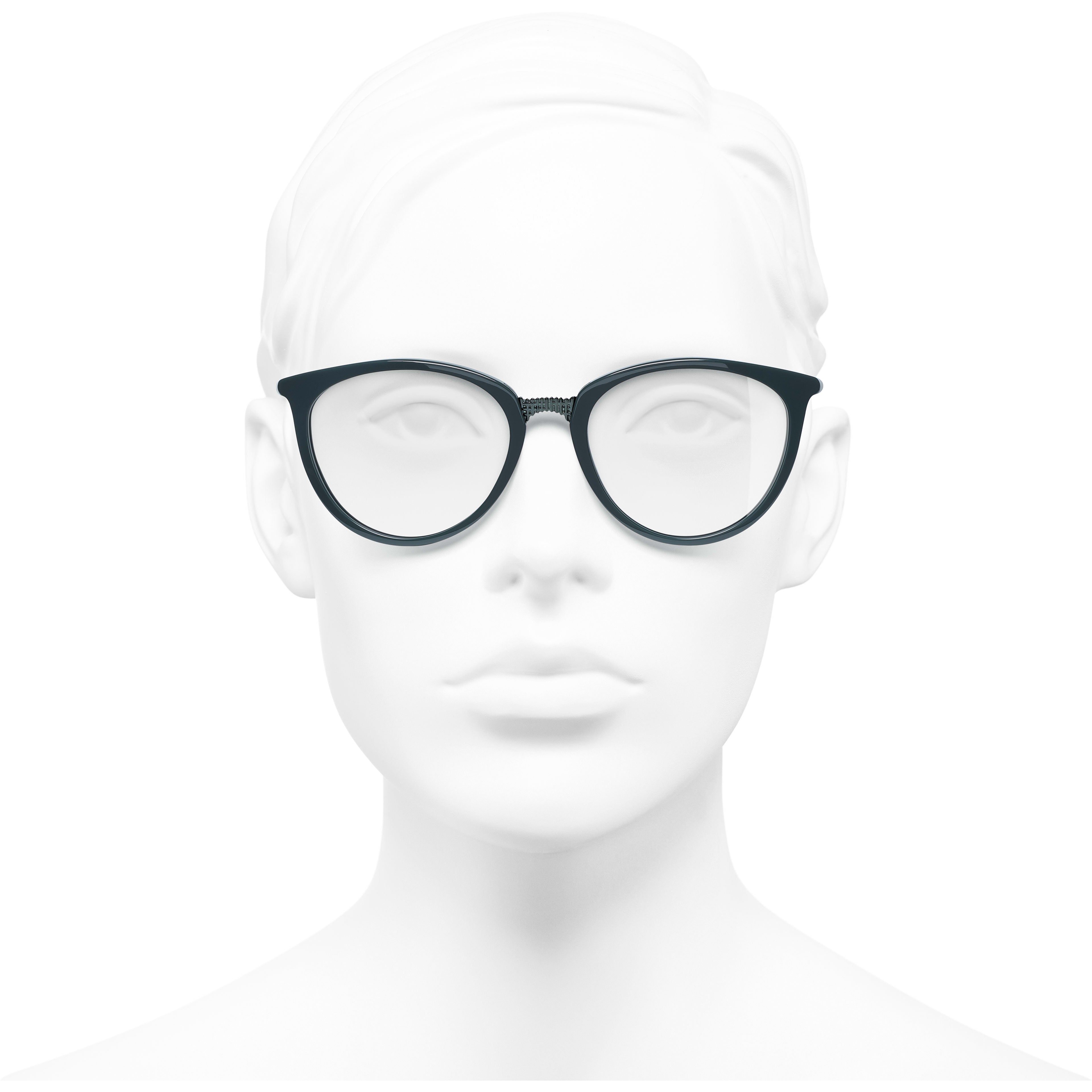 Butterfly Eyeglasses - Dark Green - Acetate - Worn front view - see standard sized version