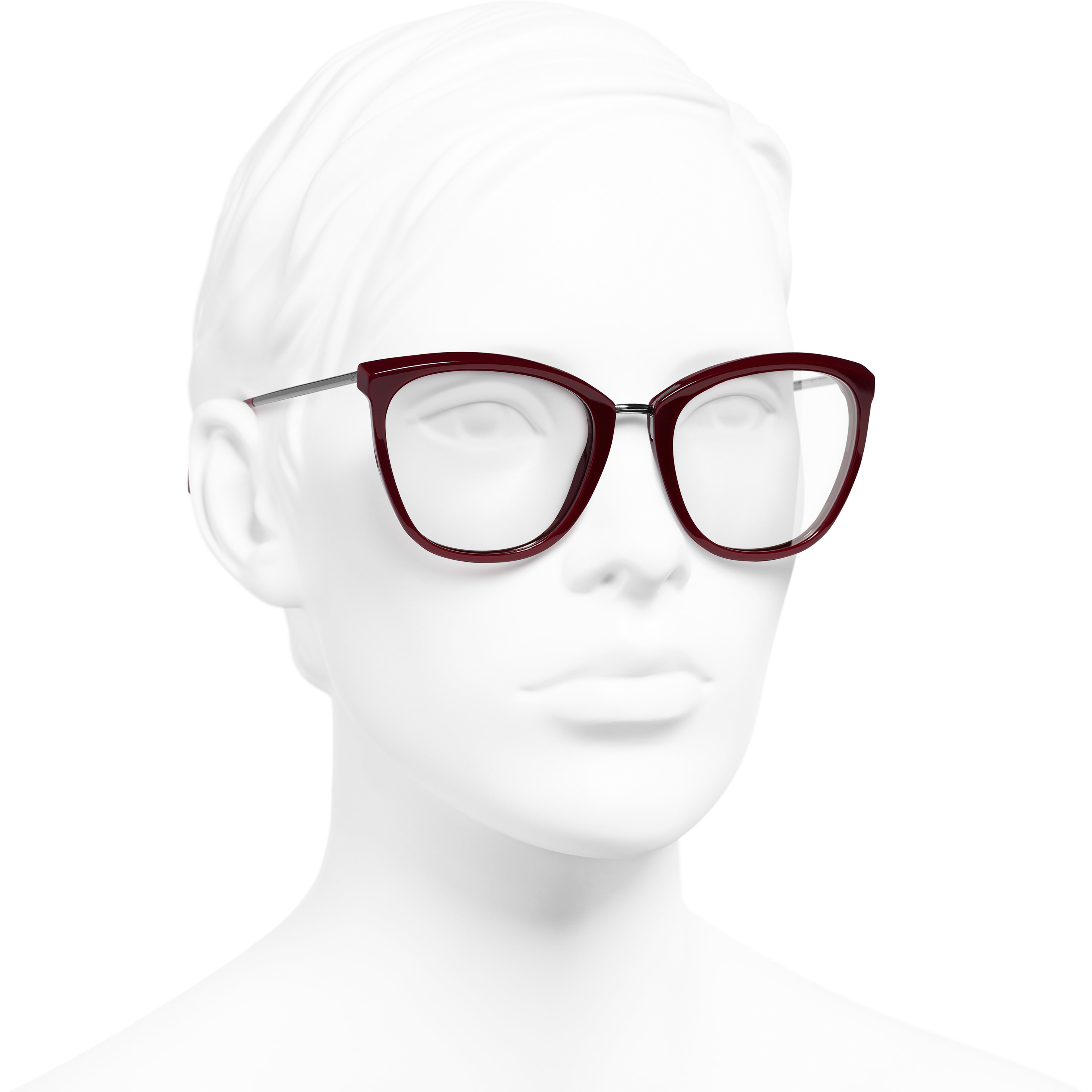 Butterfly Eyeglasses - Dark Red - Acetate & Metal - Worn 3/4 view - see standard sized version