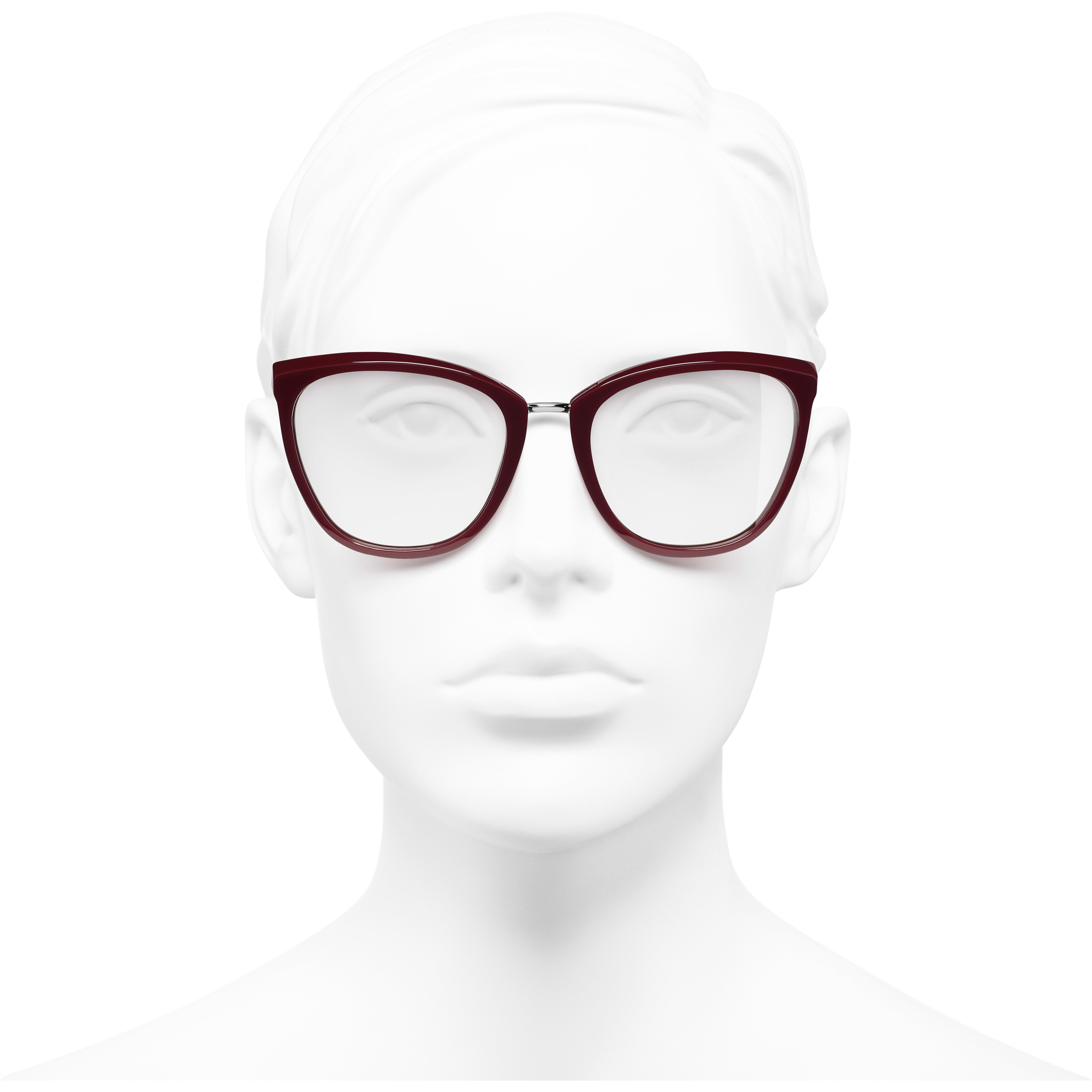 Butterfly Eyeglasses - Dark Red - Acetate & Metal - Worn front view - see standard sized version