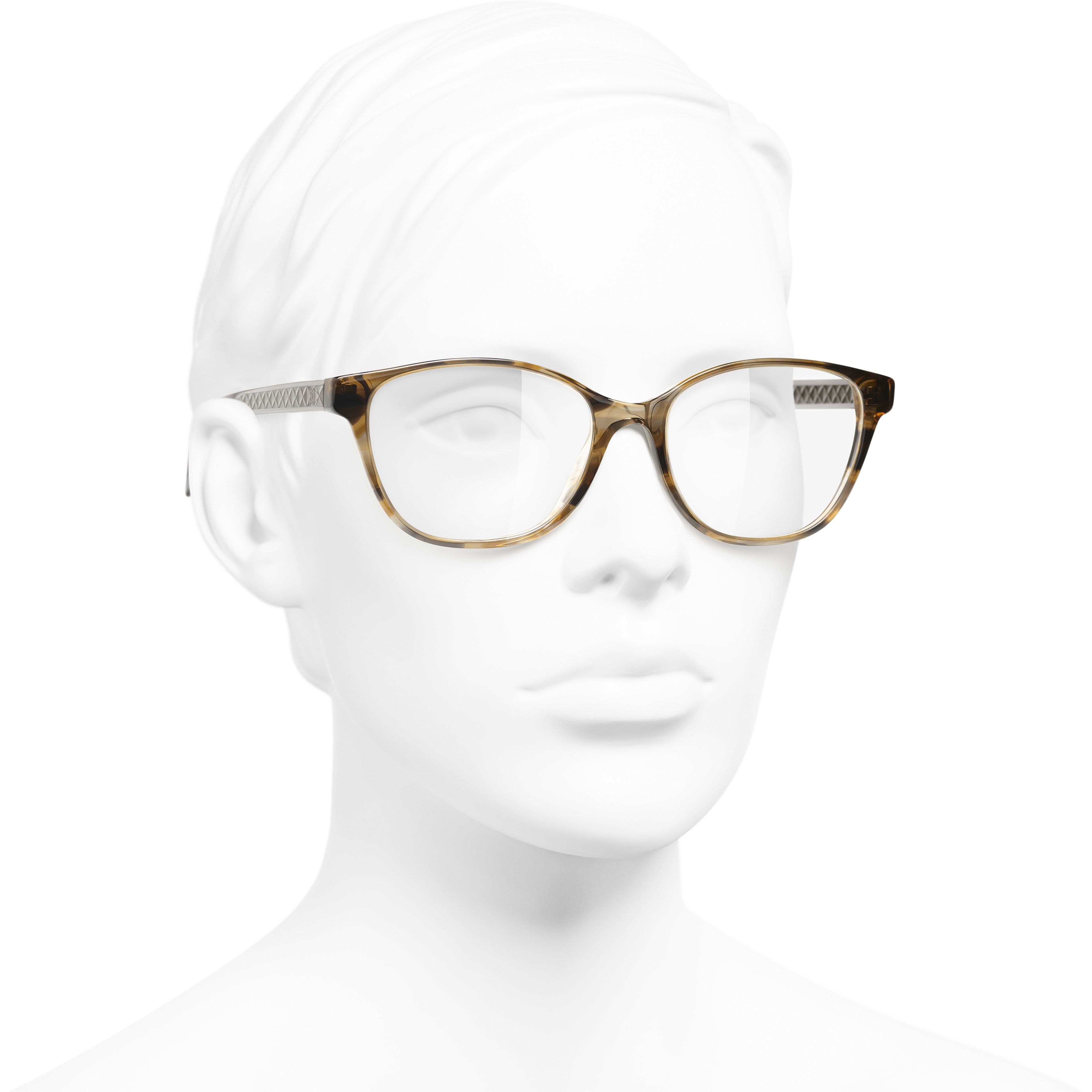 Butterfly Eyeglasses - Light Tortoise - Acetate - Worn 3/4 view - see standard sized version