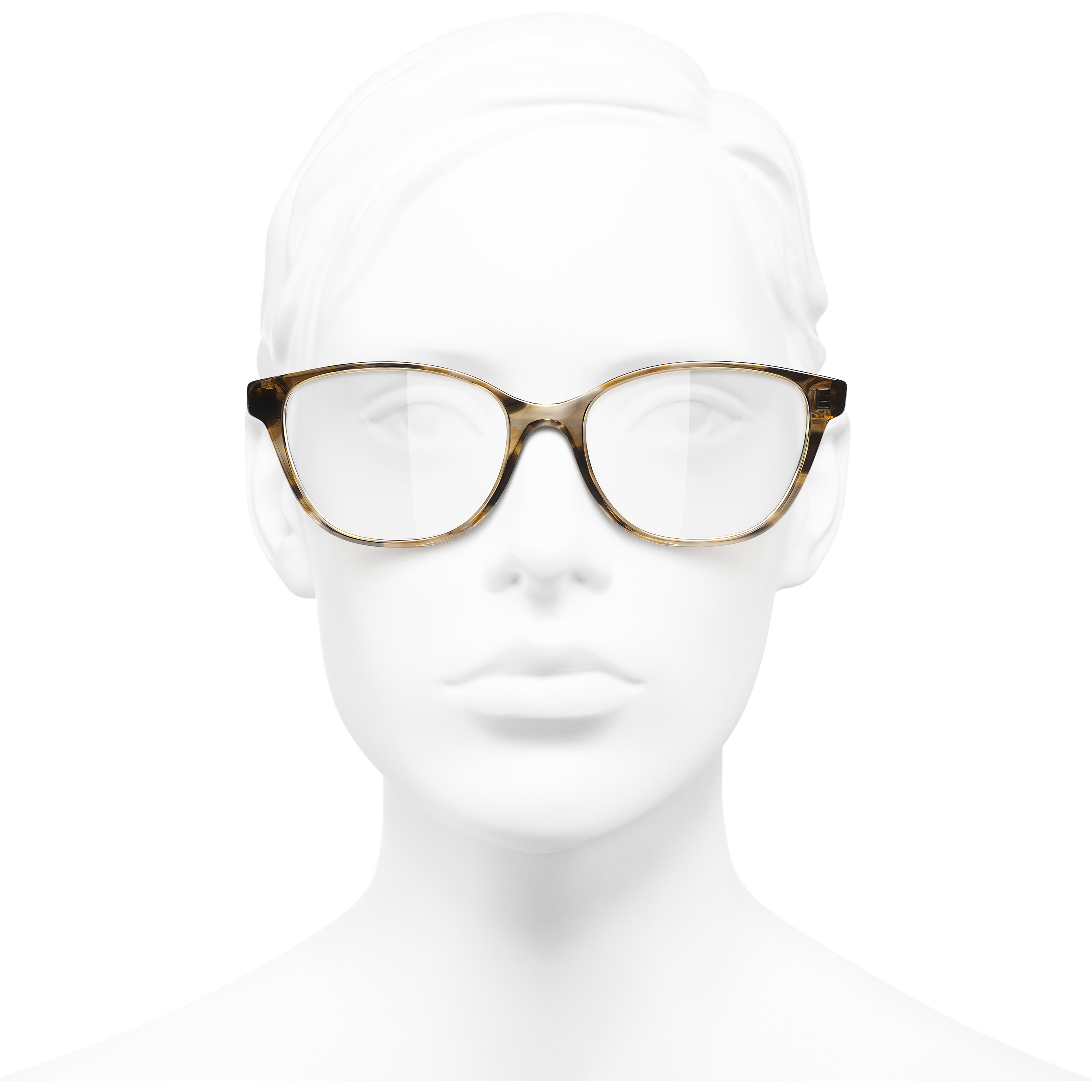 Butterfly Eyeglasses - Light Tortoise - Acetate - Worn front view - see standard sized version
