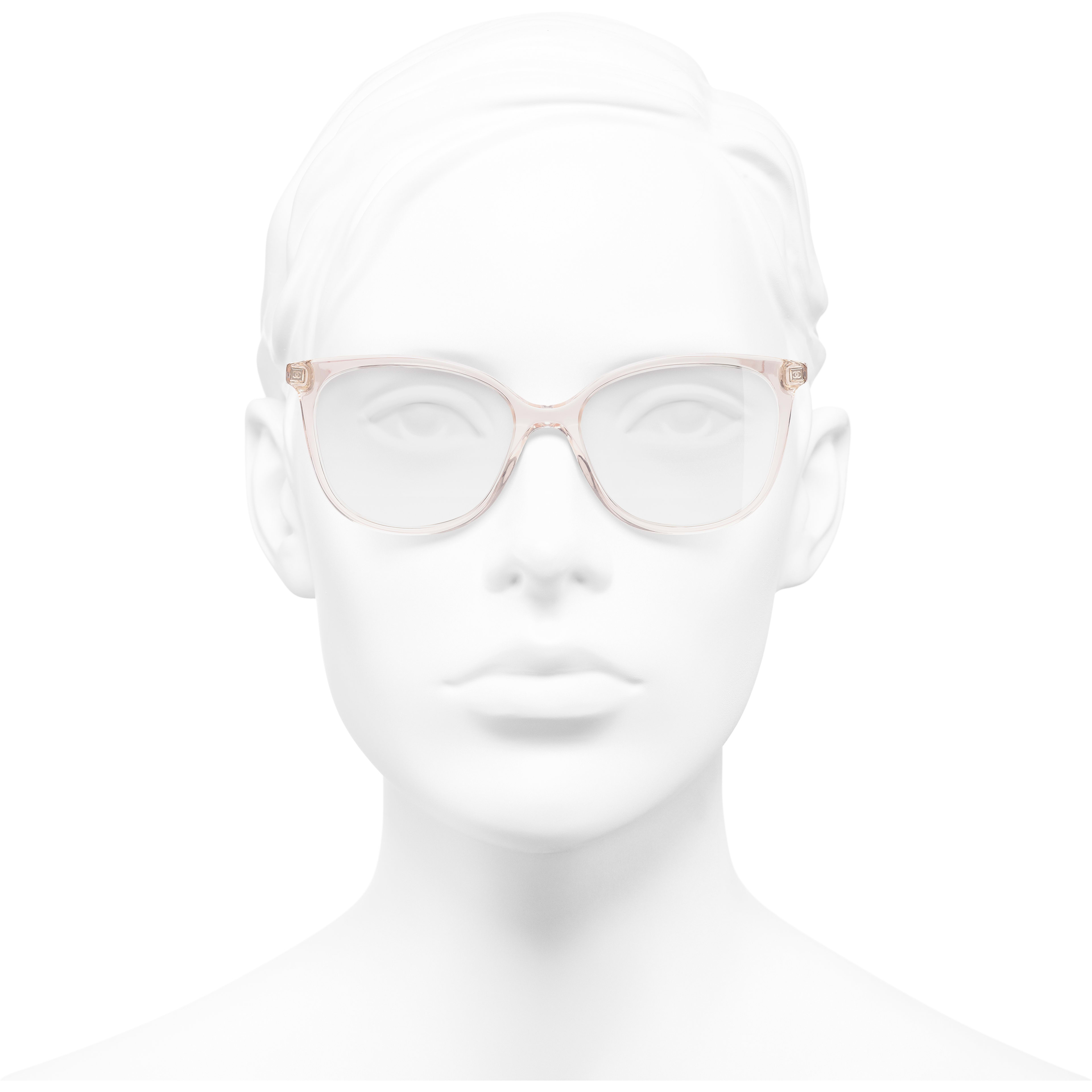 Butterfly Eyeglasses - Pink - Acetate & Metal - Worn front view - see standard sized version