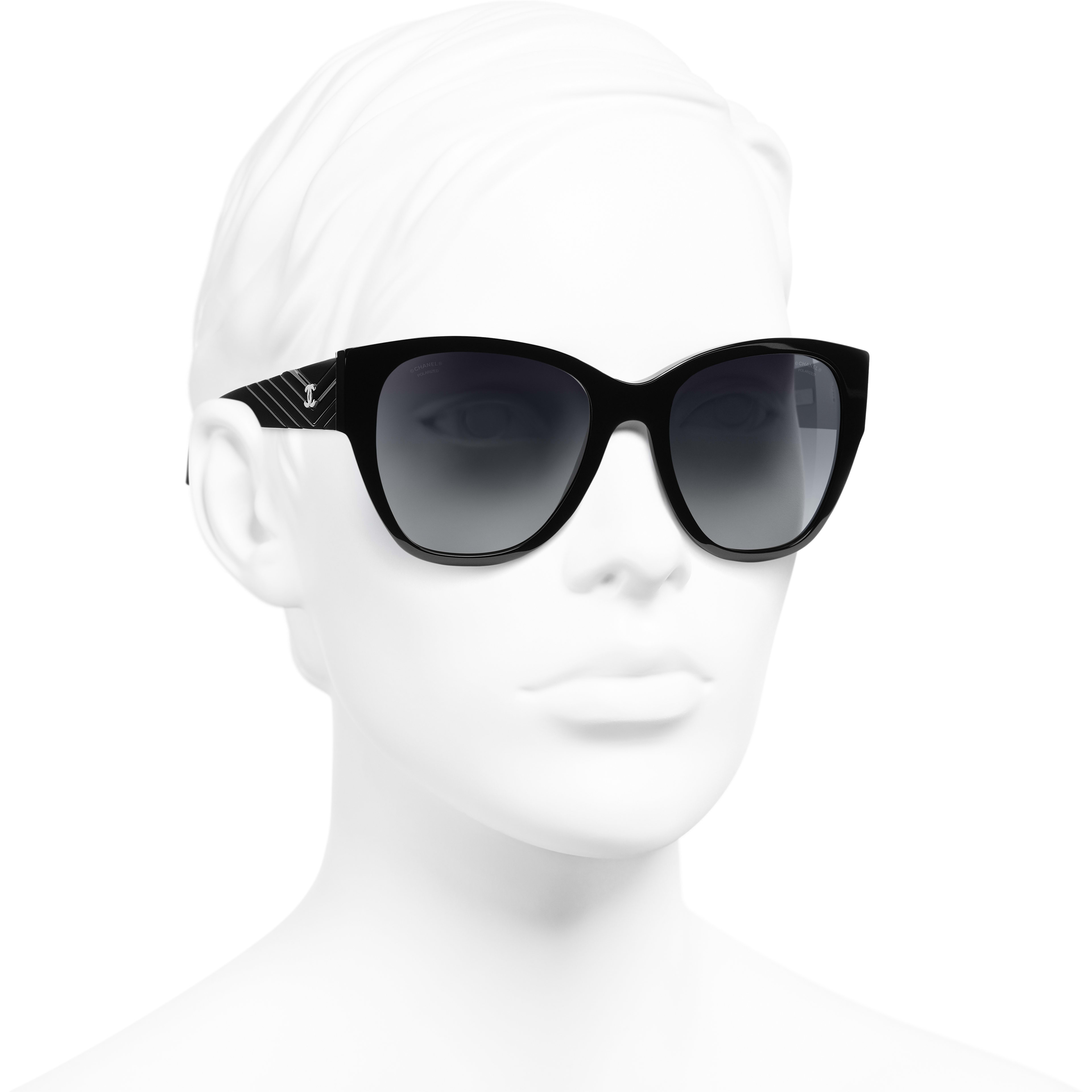 Butterfly Sunglasses - Black - Acetate - CHANEL - Worn 3/4 view - see standard sized version