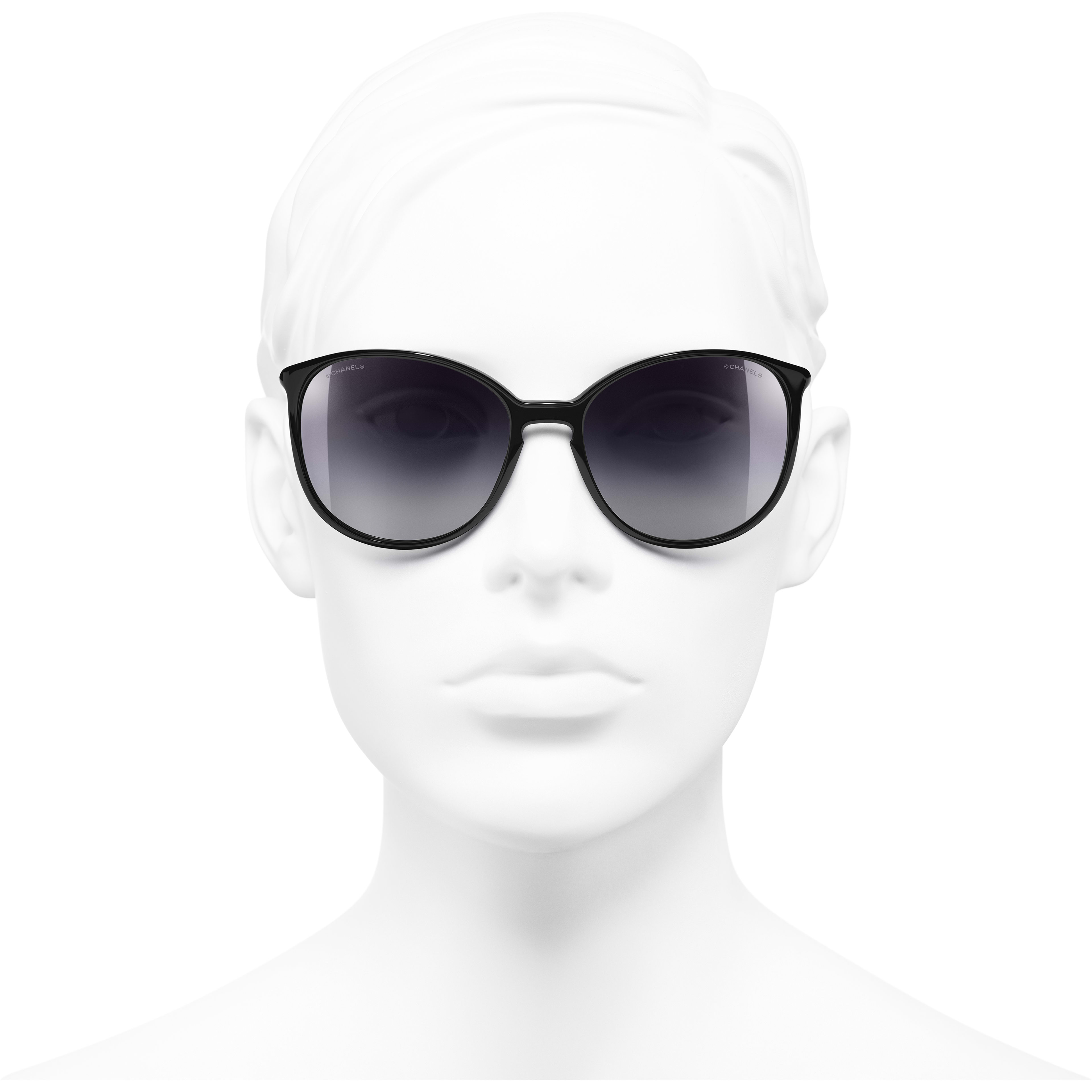 Butterfly Sunglasses - Black - Acetate - CHANEL - Worn front view - see standard sized version