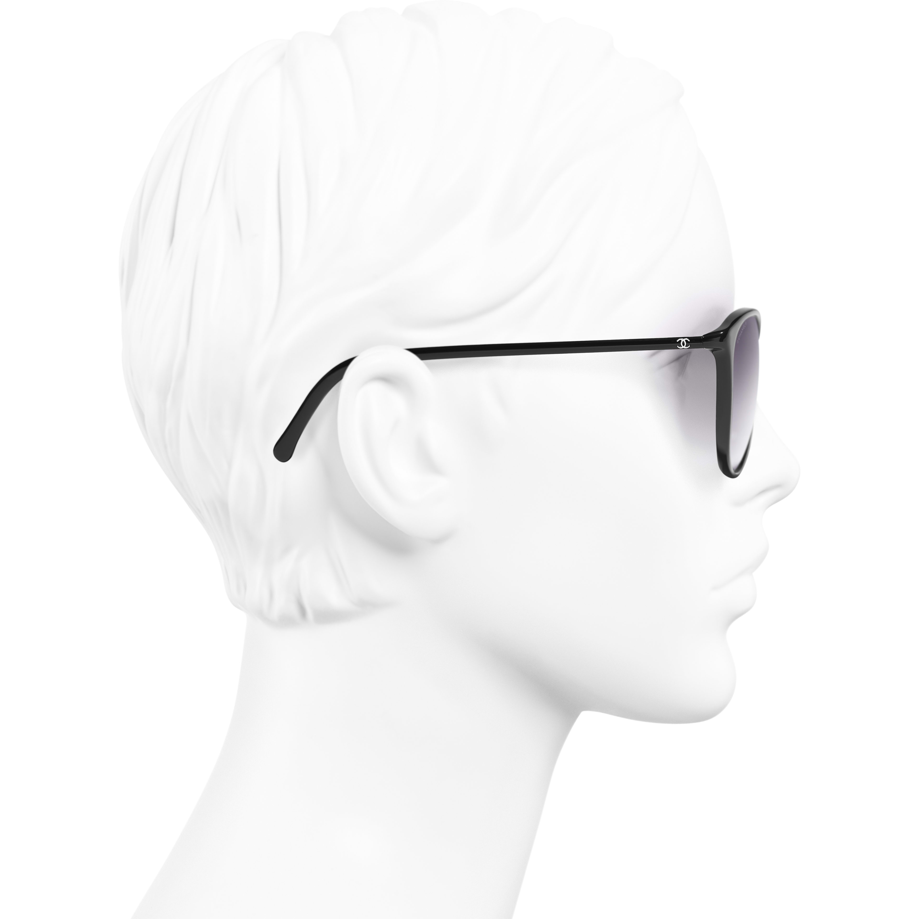 Butterfly Sunglasses - Black - Acetate - CHANEL - Worn side view - see standard sized version