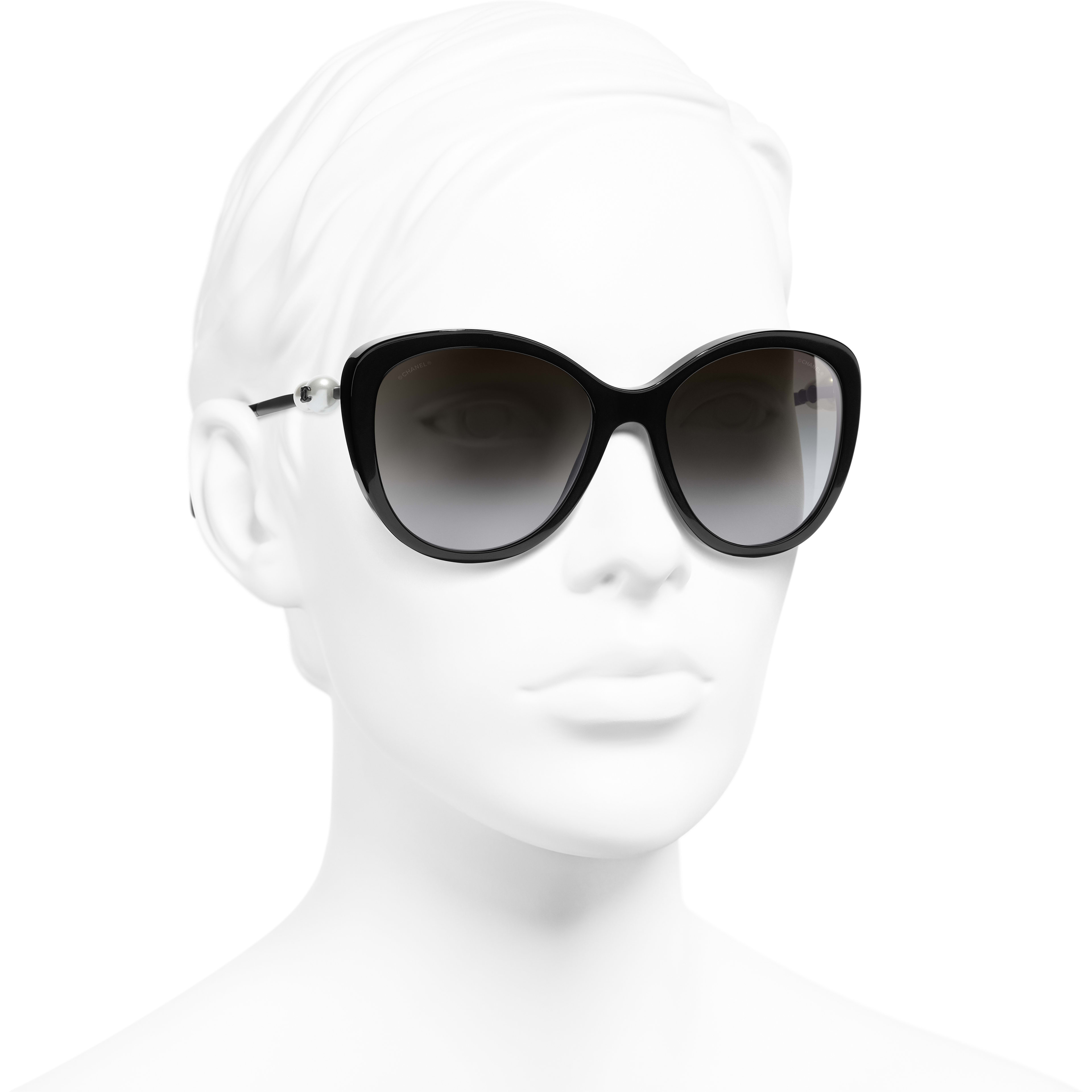 Butterfly Sunglasses - Black - Acetate & Imitation Pearls - CHANEL - Worn 3/4 view - see standard sized version