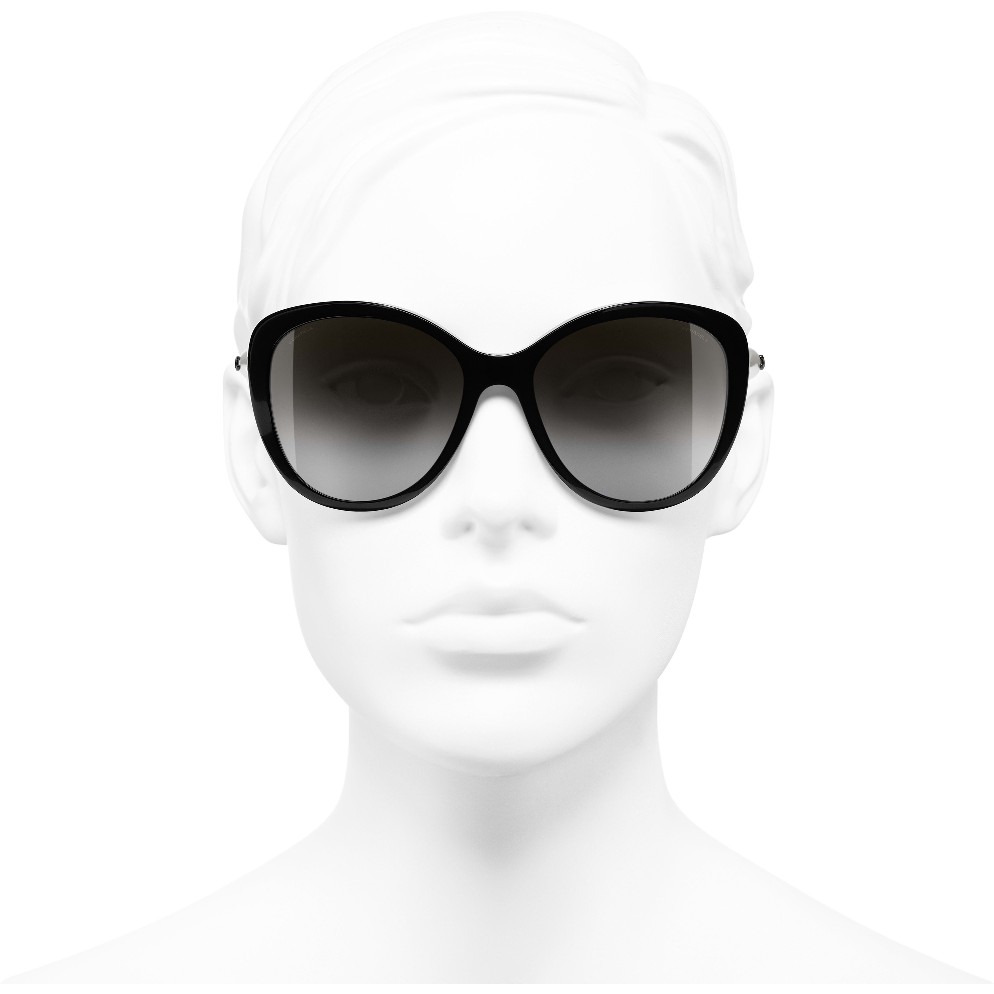 Butterfly Sunglasses - Black - Acetate & Imitation Pearls - CHANEL - Worn front view - see standard sized version