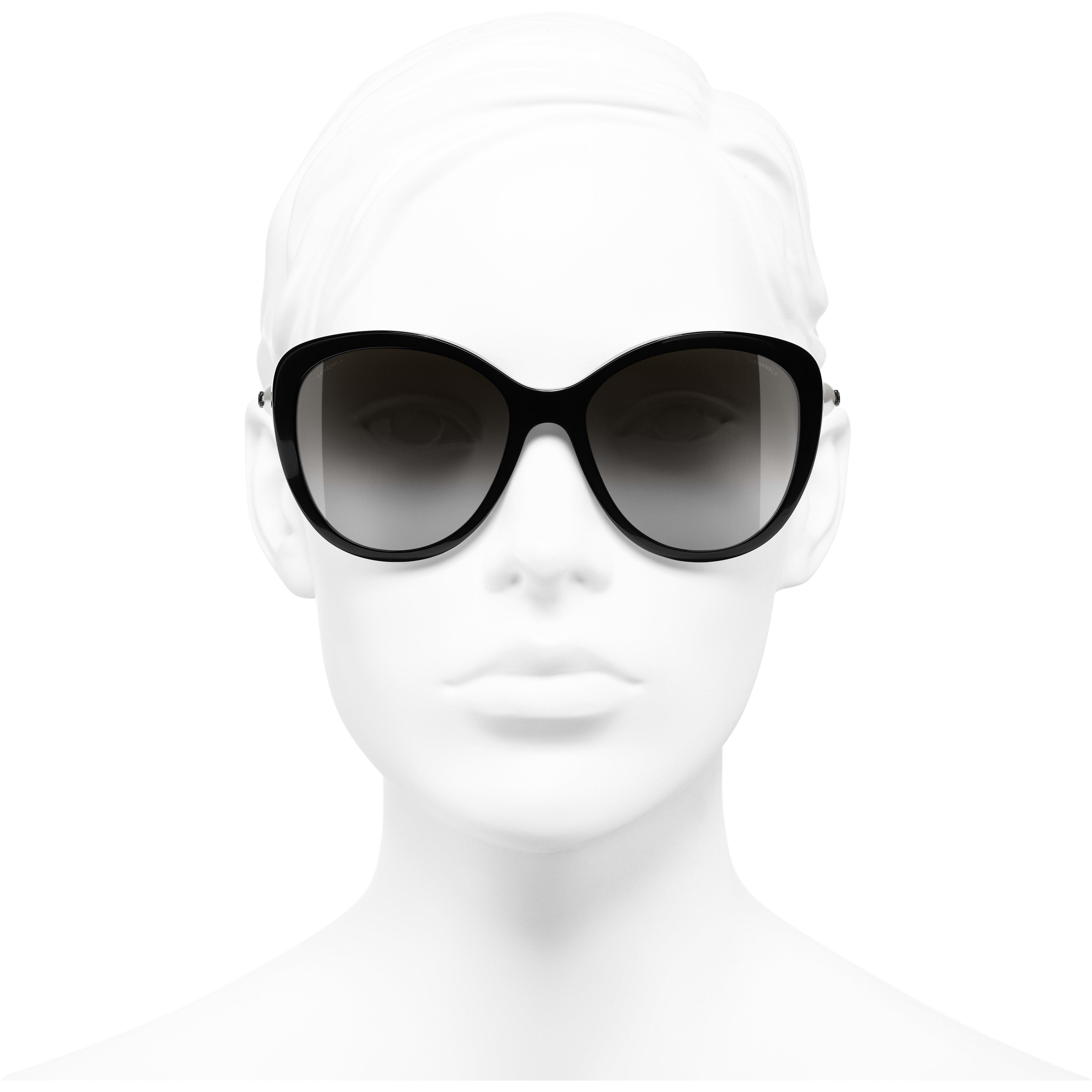 Óculos De Sol Em Formato Borboleta - Black - Acetate & Imitation Pearls - CHANEL - Vista de frente - ver a versão em tamanho standard
