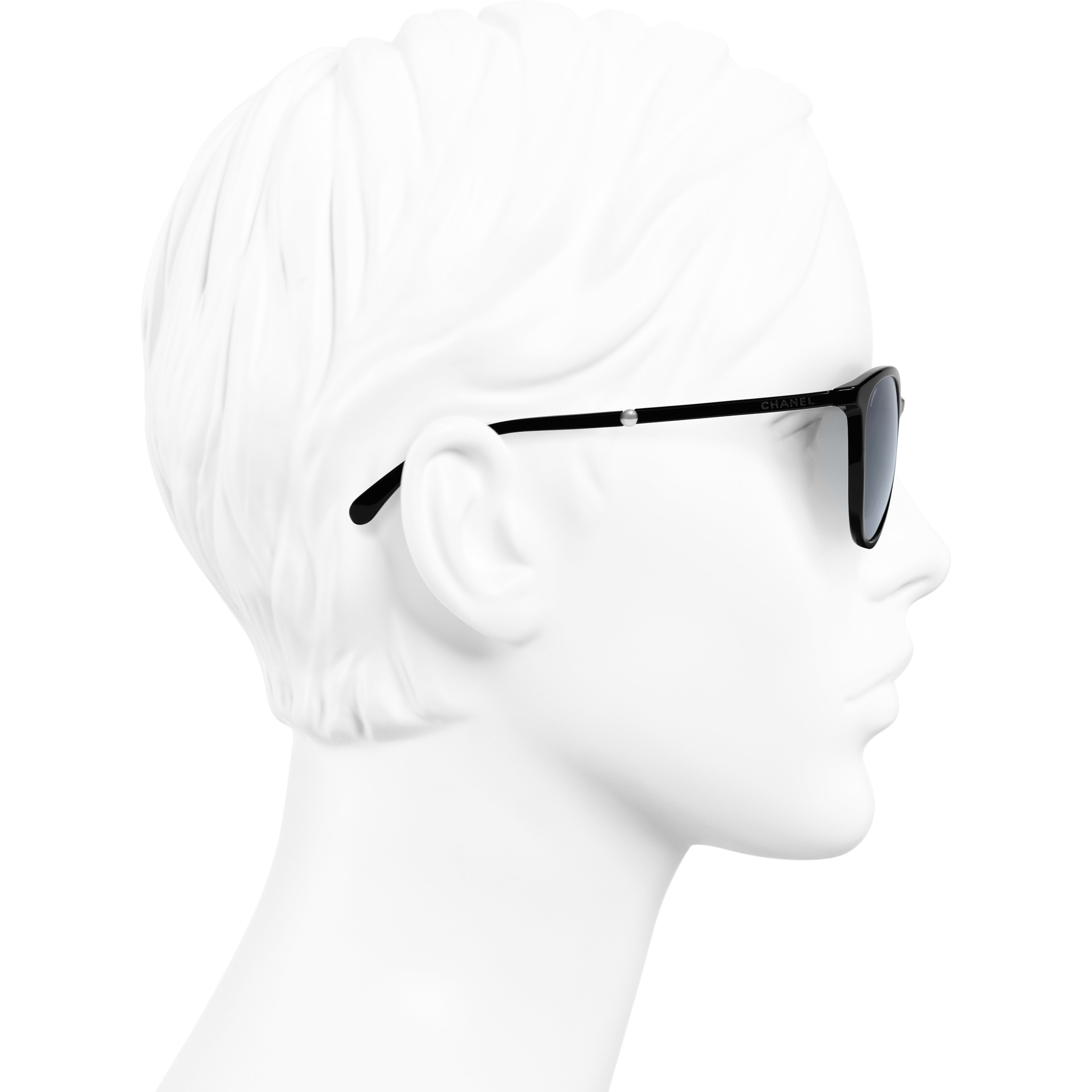 Butterfly Sunglasses - Black - Acetate & Imitation Pearls - CHANEL - Worn side view - see standard sized version