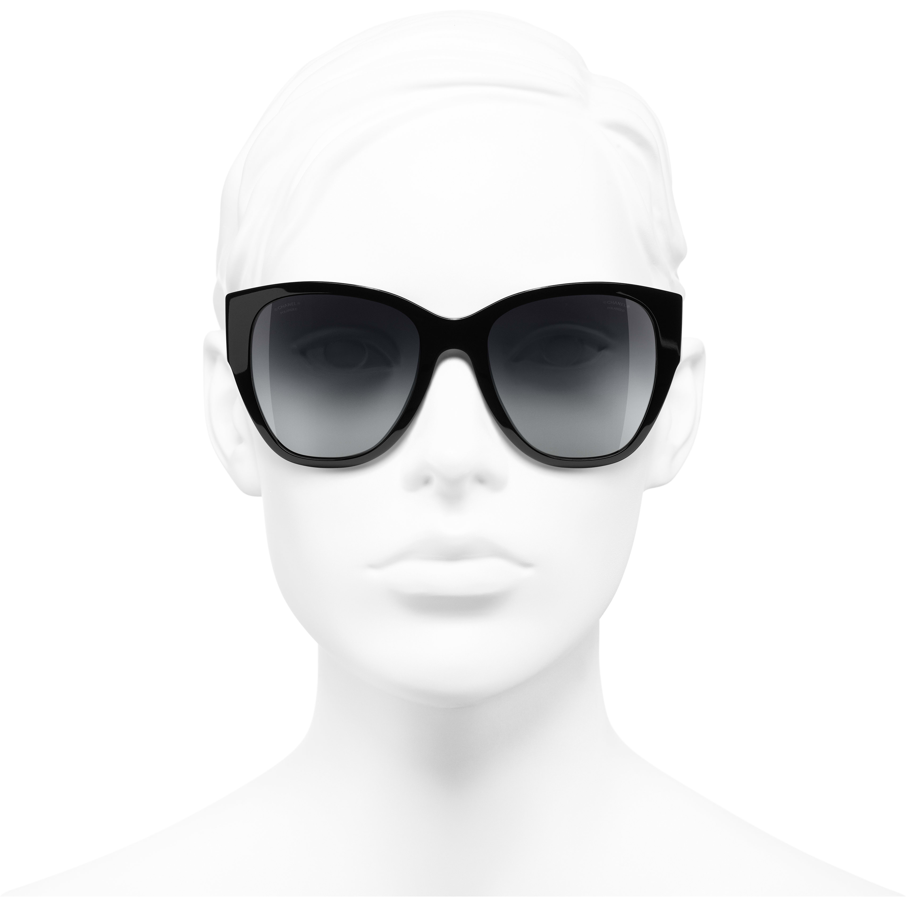 Butterfly Sunglasses - Black - Acetate - Polarised Lenses - Worn front view - see standard sized version