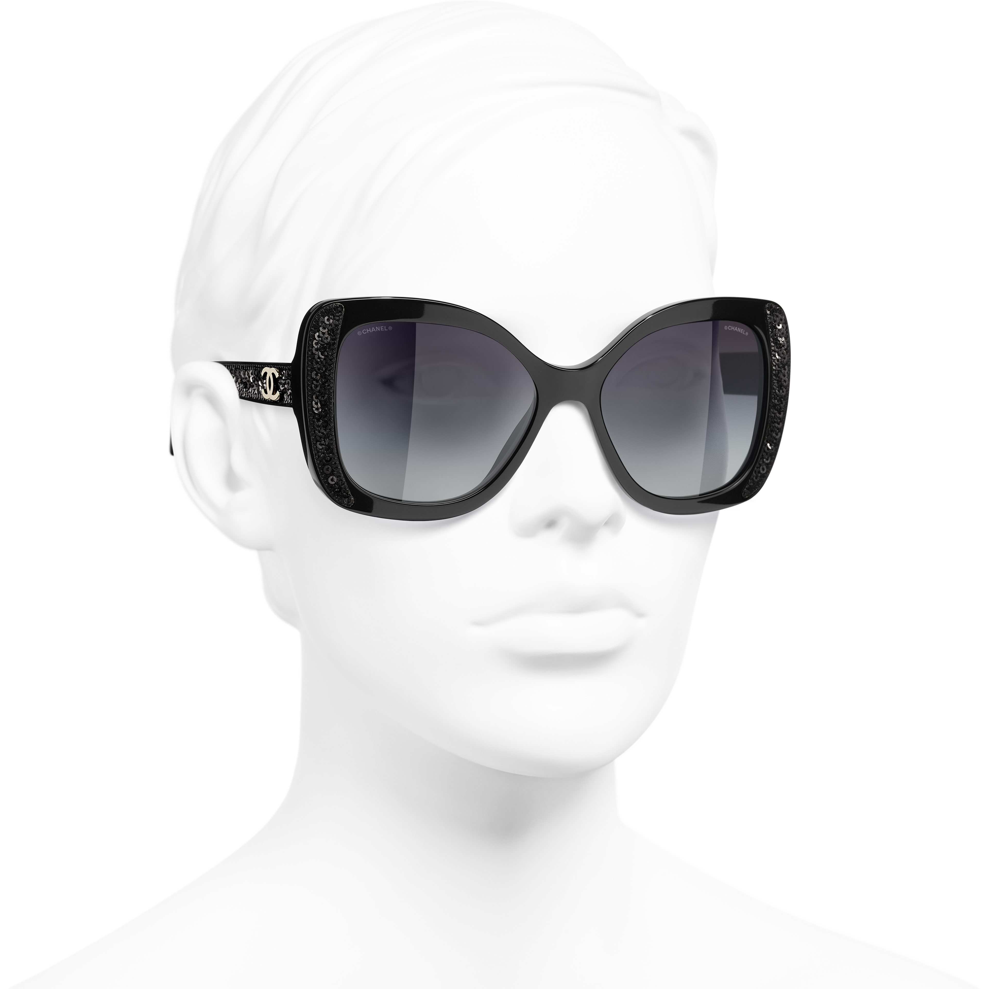 Butterfly Sunglasses - Black - Acetate & Sequins - CHANEL - Worn 3/4 view - see standard sized version